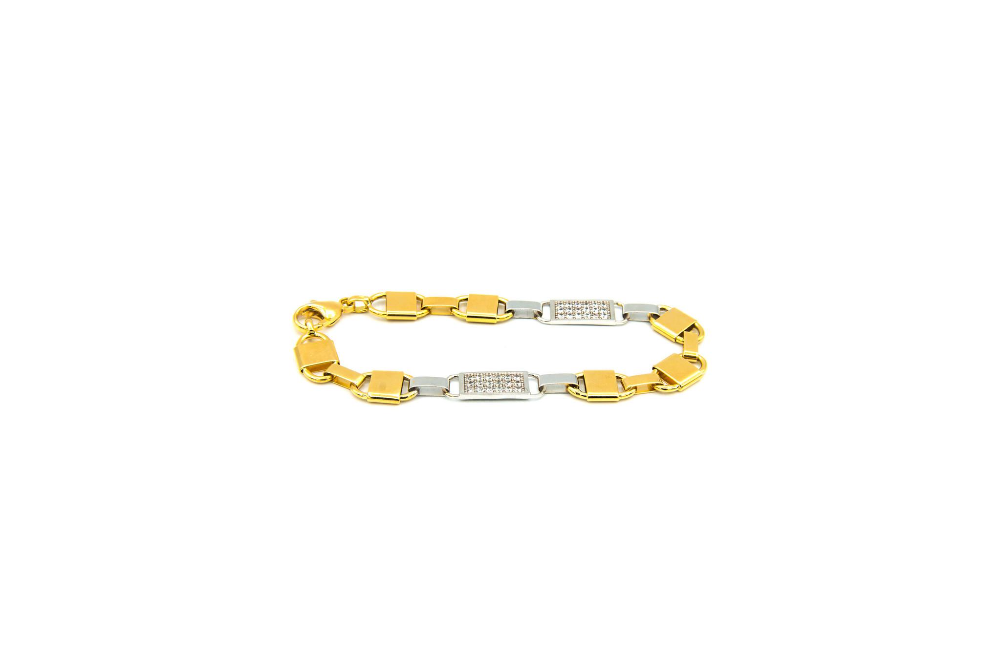 Armband brede Kingsley bicolor met zirkonia's-1