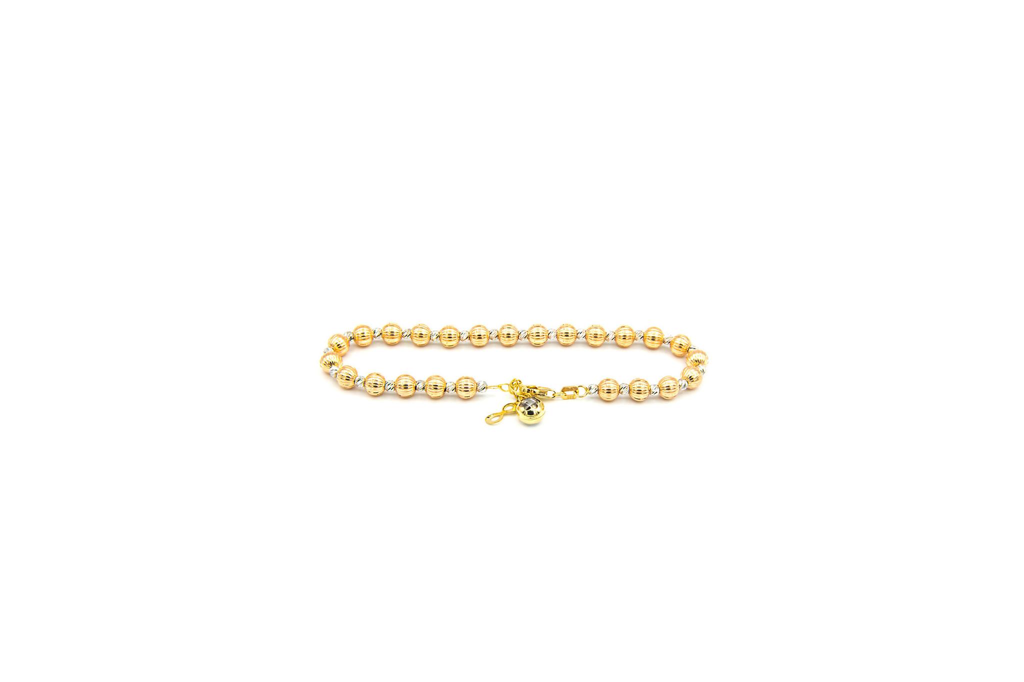Armband diamond cut grote en kleine balletjes tricolor-1