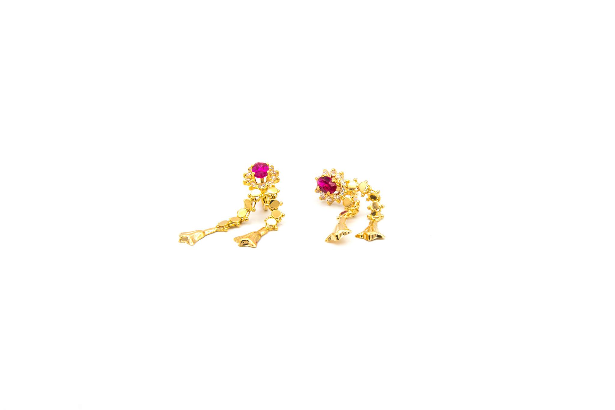 Oorbellen hangers met roze en witte zirkonia's-2