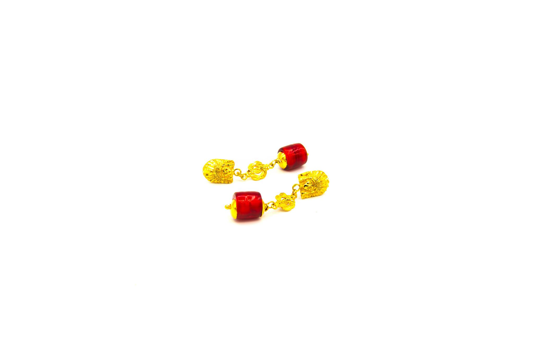 Oorbellen hangers indiaan, mattenklopper en rode steen-2