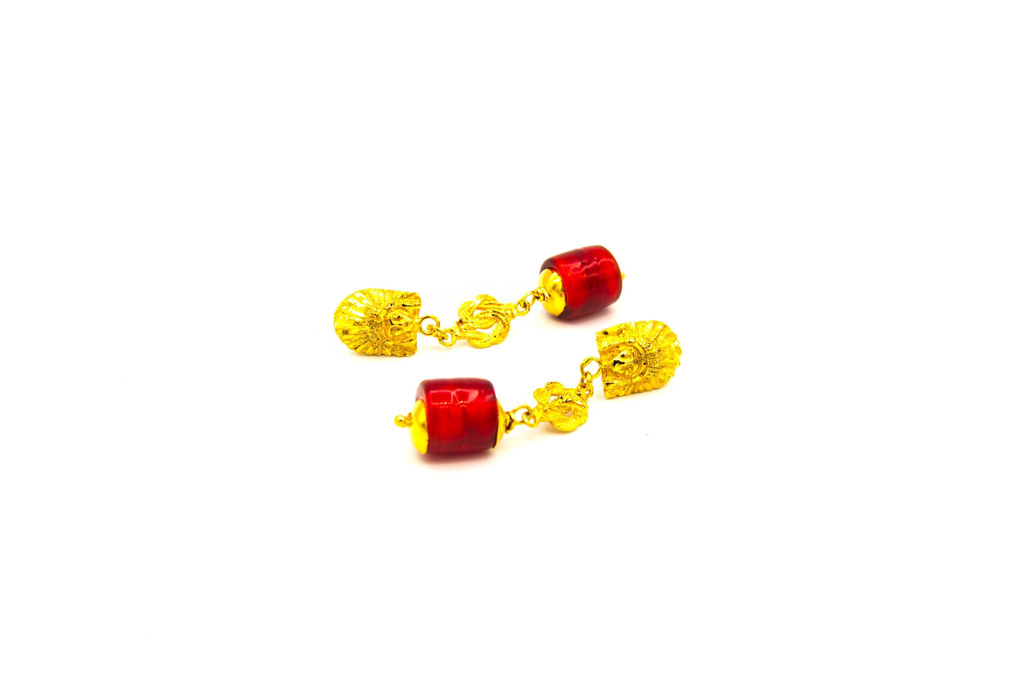 Oorbellen hangers indiaan, mattenklopper en rode steen-3