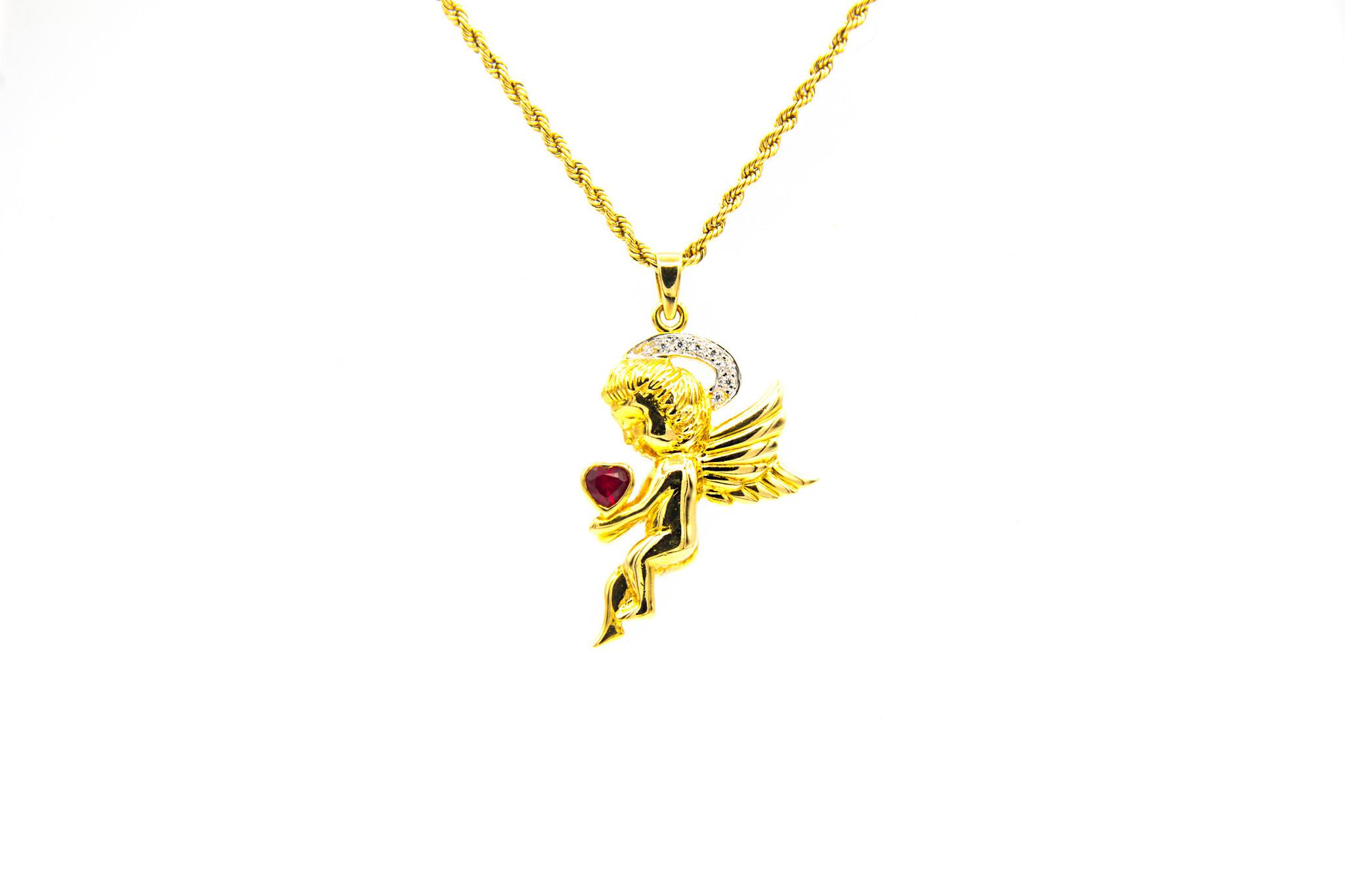 Hanger engel met rode en witte zirkonia's-1