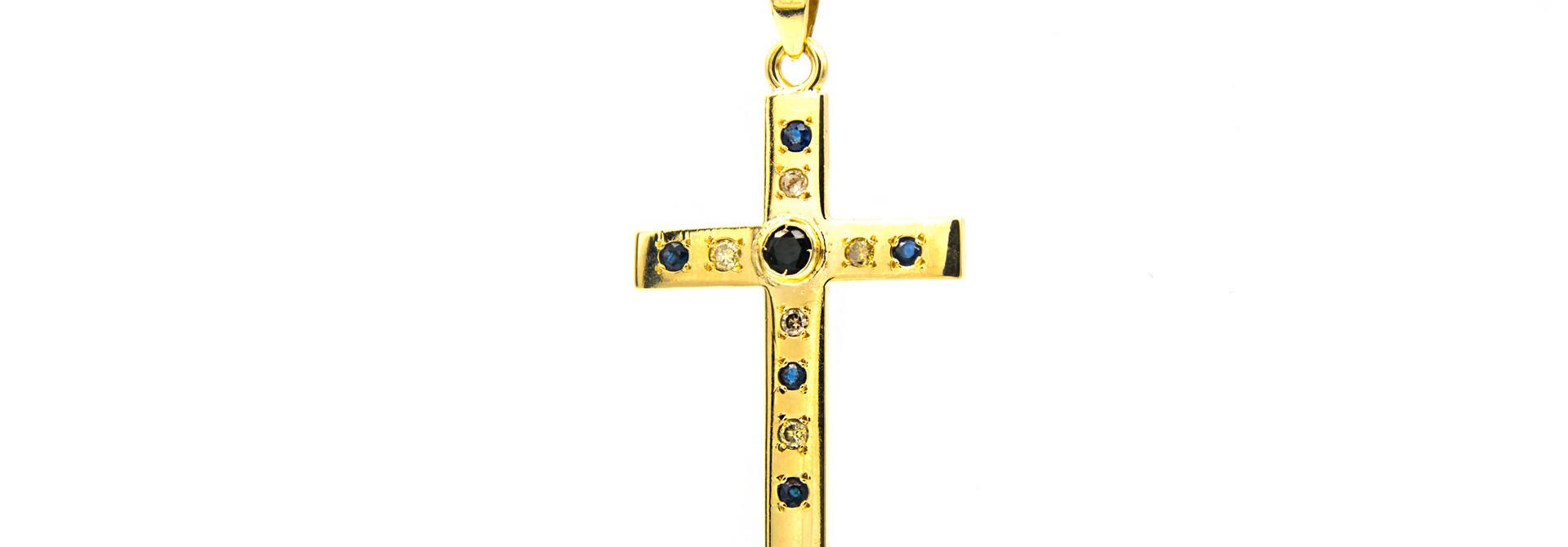 Hanger kruis met diamanten en saffieren