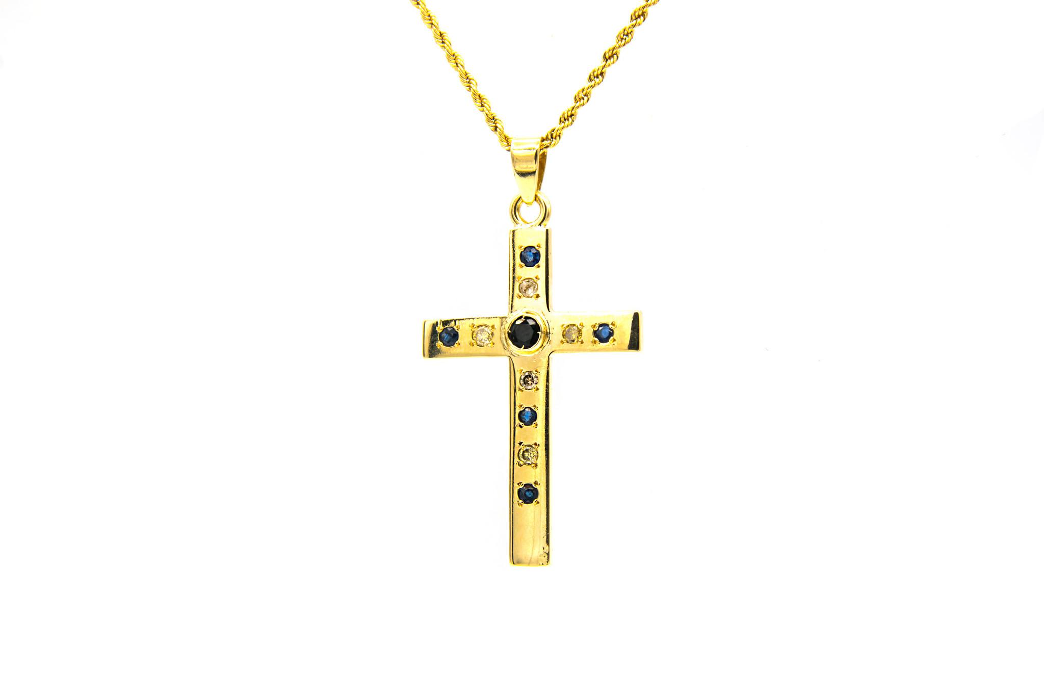 Hanger kruis met diamanten en saffieren-1