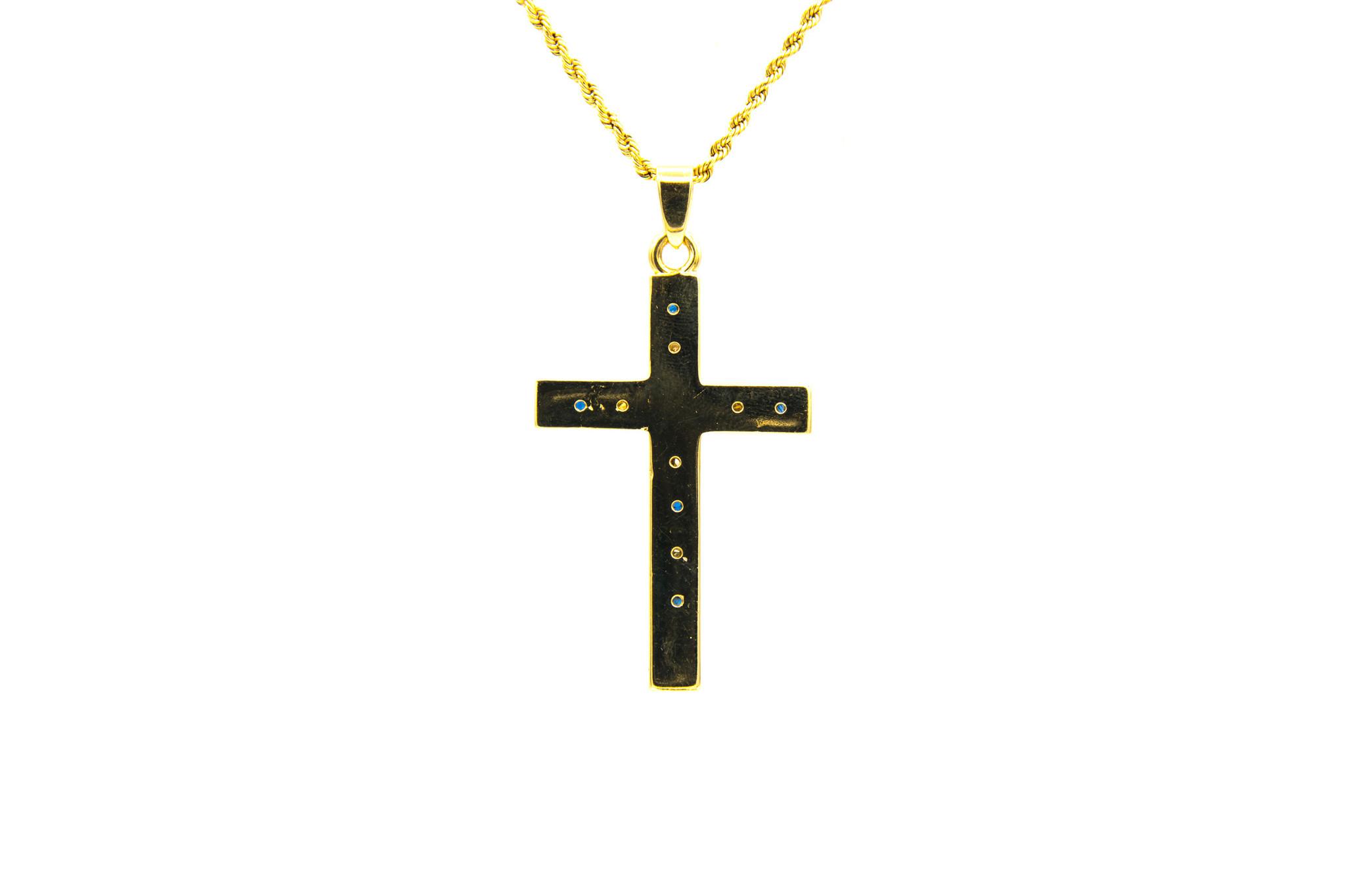 Hanger kruis met diamanten en saffieren-3