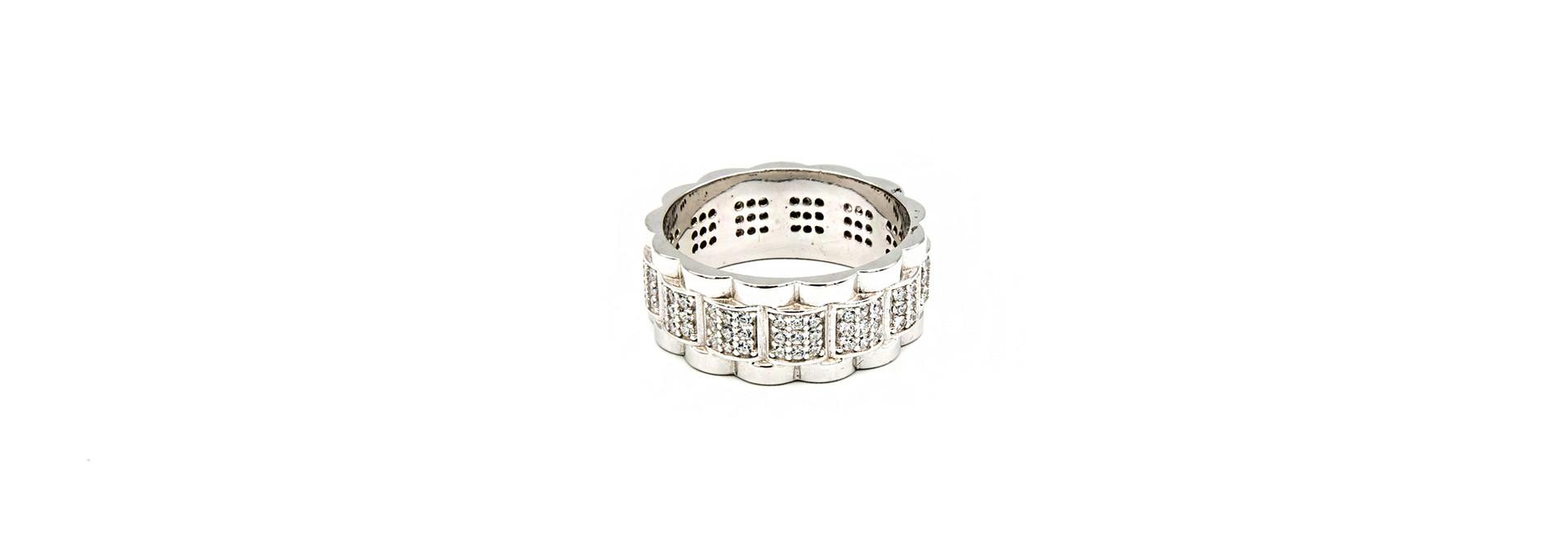 Ring Rolexschakel met zirkonia's zilver