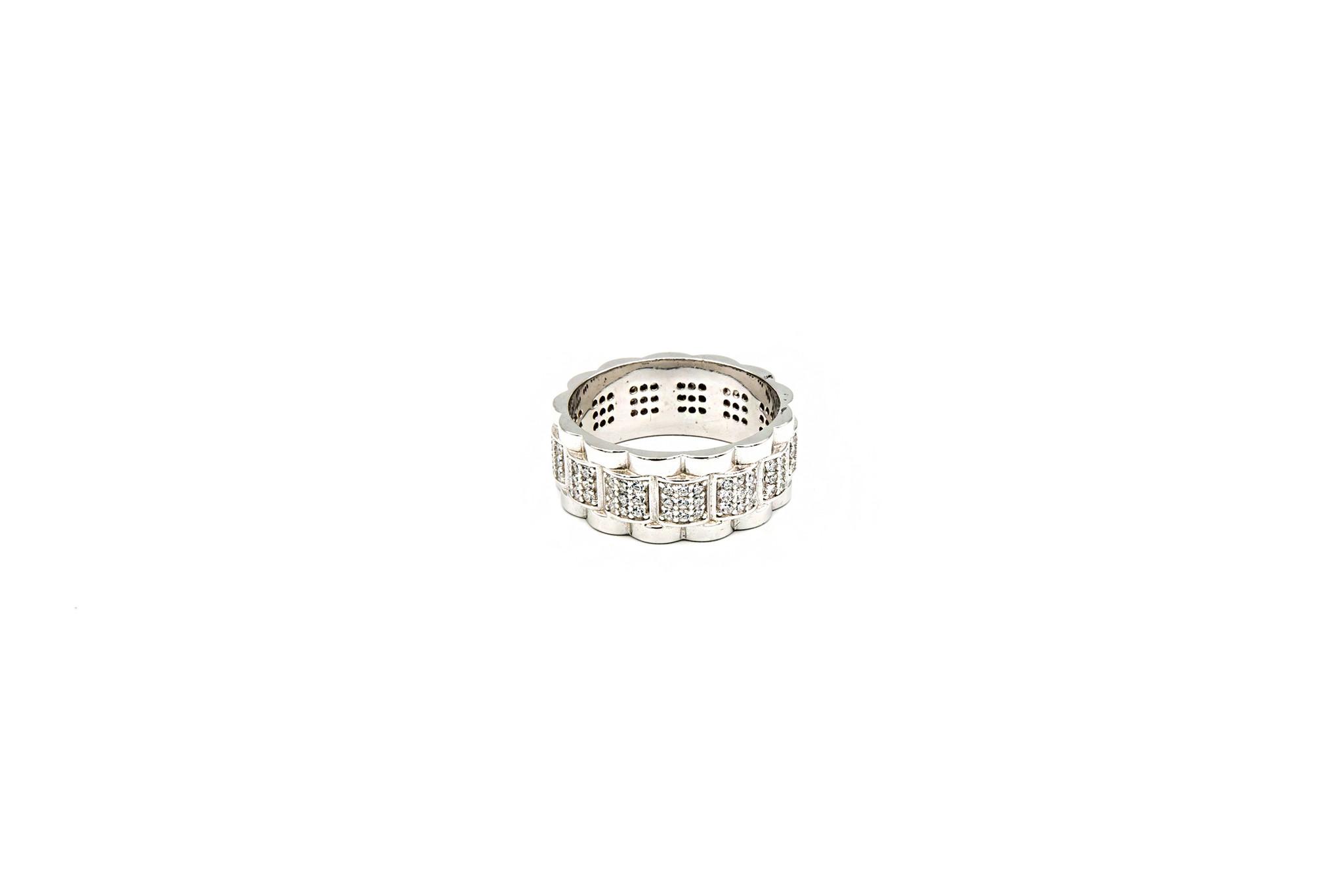 Ring Rolexschakel met zirkonia's zilver-1