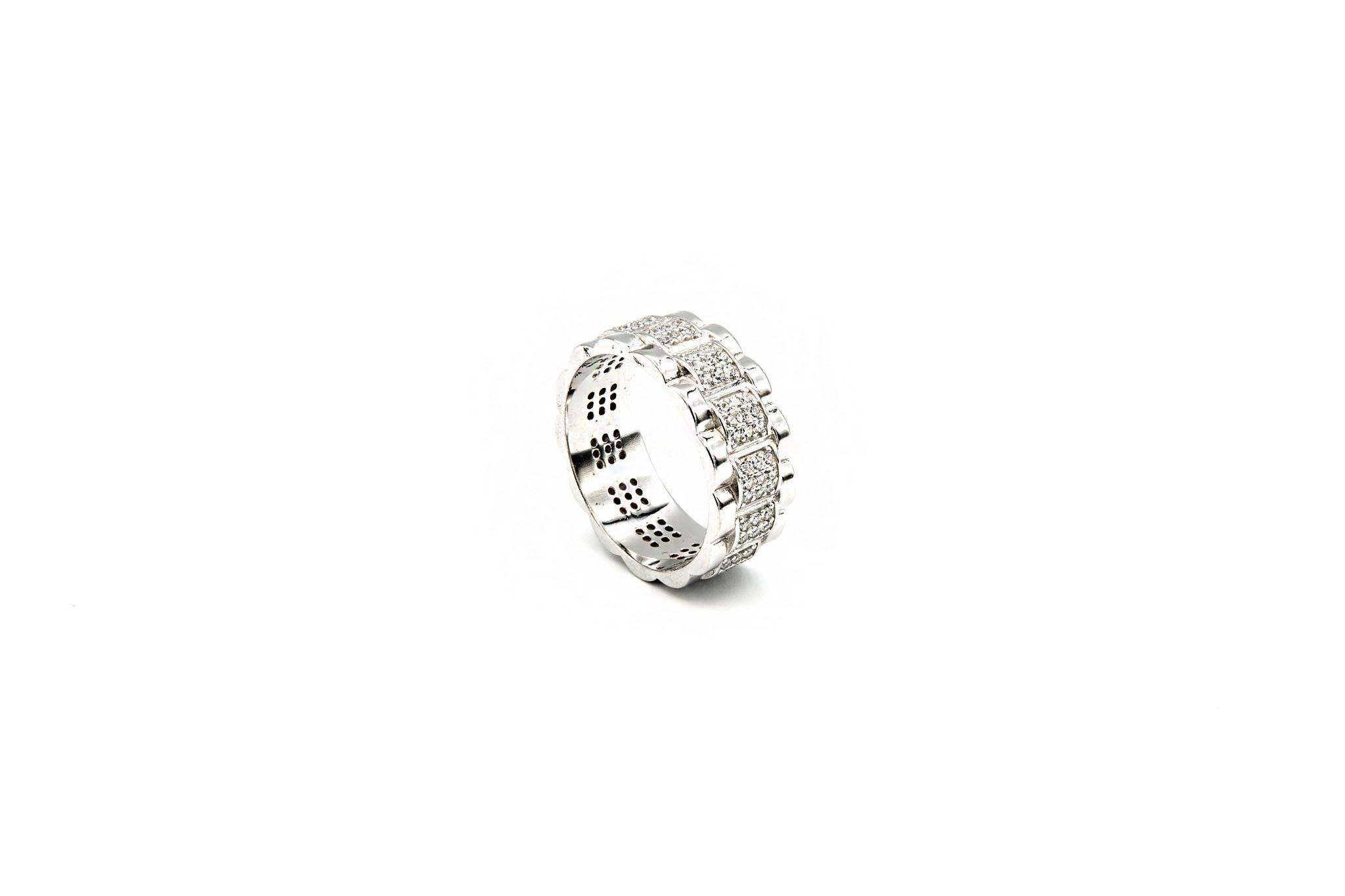 Ring Rolexschakel met zirkonia's zilver-2