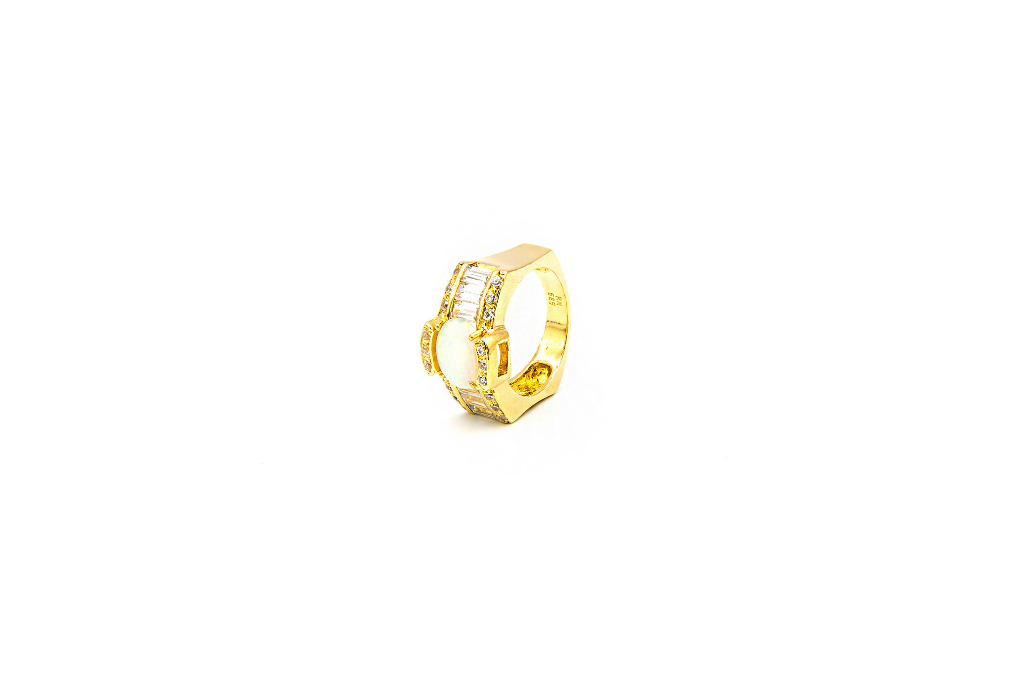 Ring met zirkonia's en Gilson opaal-5
