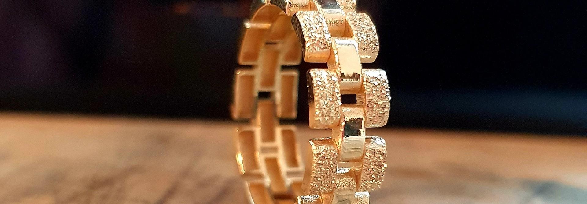 Ring Rolexschakel vast smal glanzend/gematteerd