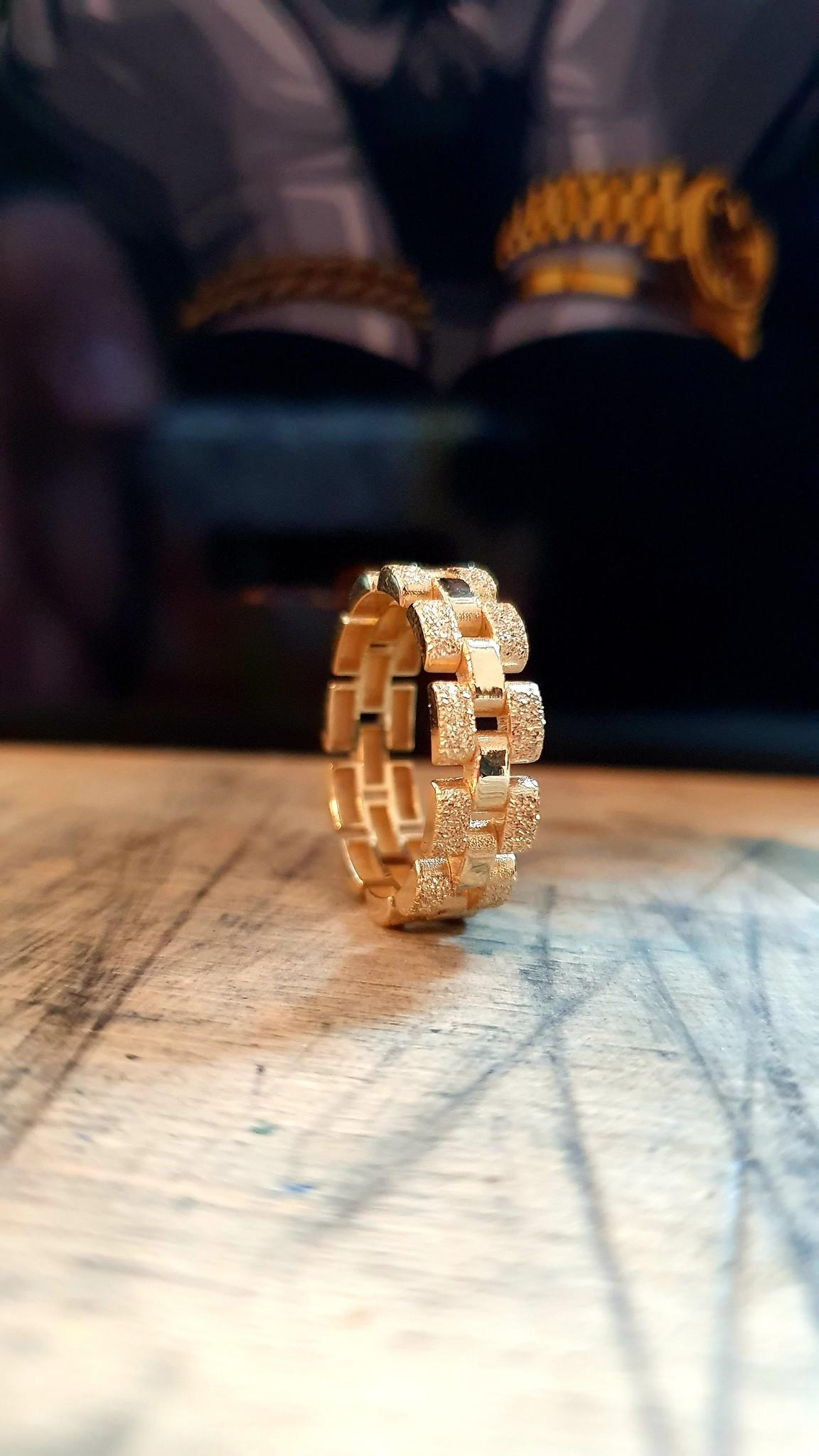 Ring Rolexschakel vast smal glanzend/gematteerd-1