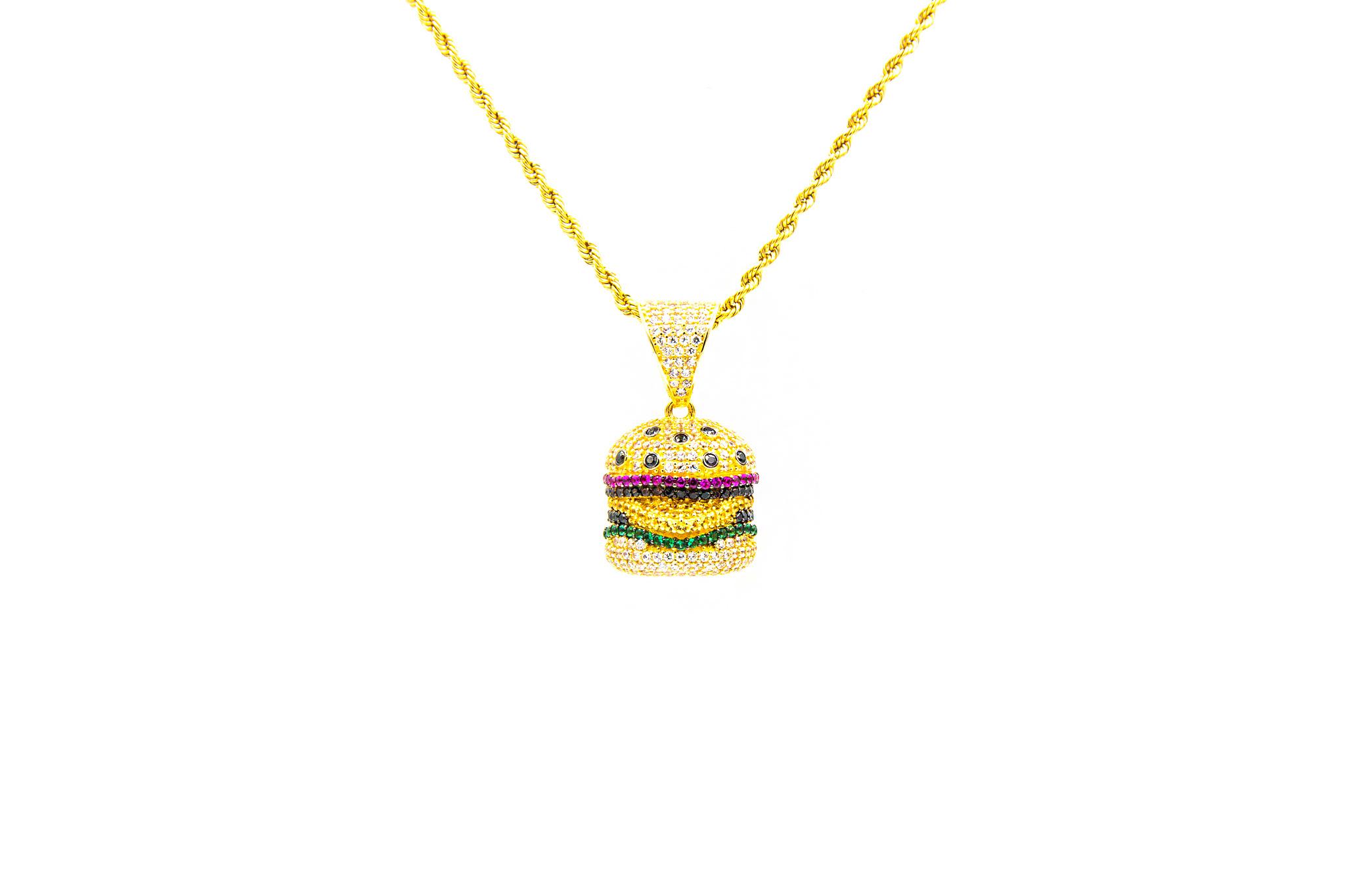 Hanger hamburger bezet met 6 kleuren zirkonia's-1