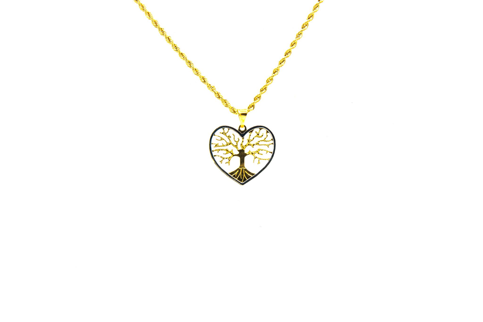 Hanger hart met levensboom bicolor-1