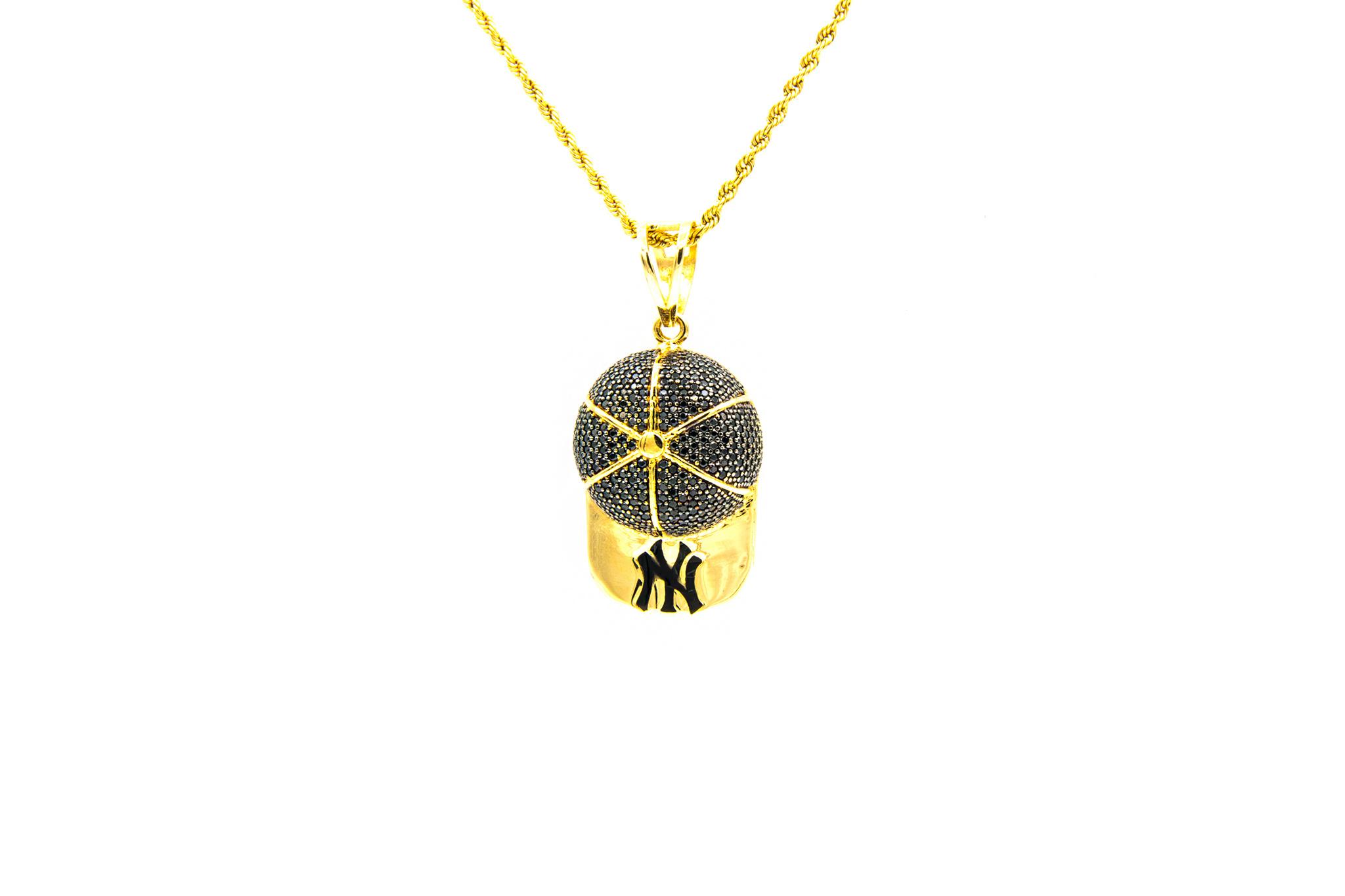 Hanger New York basketball pet, bezet met zwarte zirkonia's en zwarte emaille-1