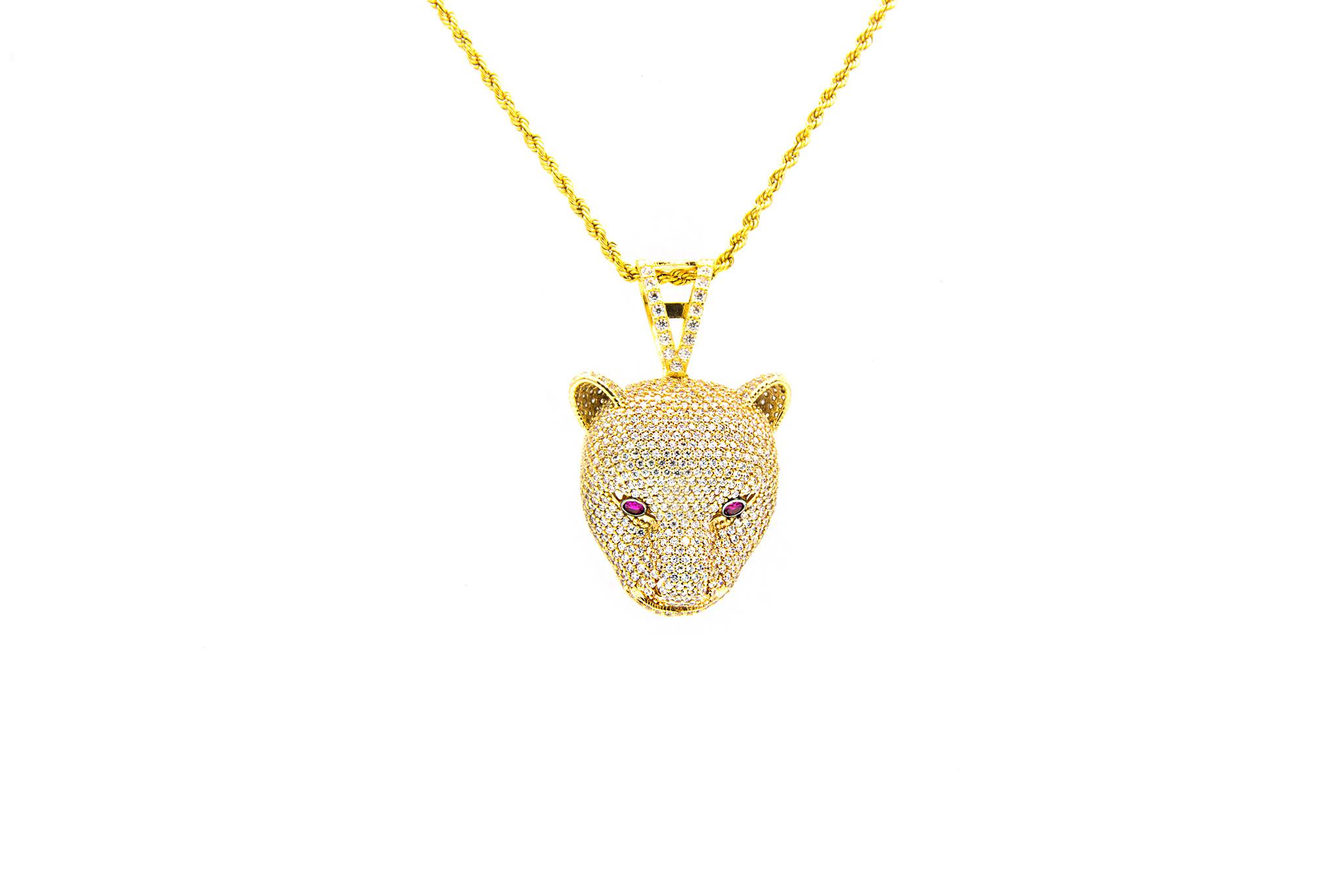 Hanger luipaard bezet met 2 kleuren zirkonia-1