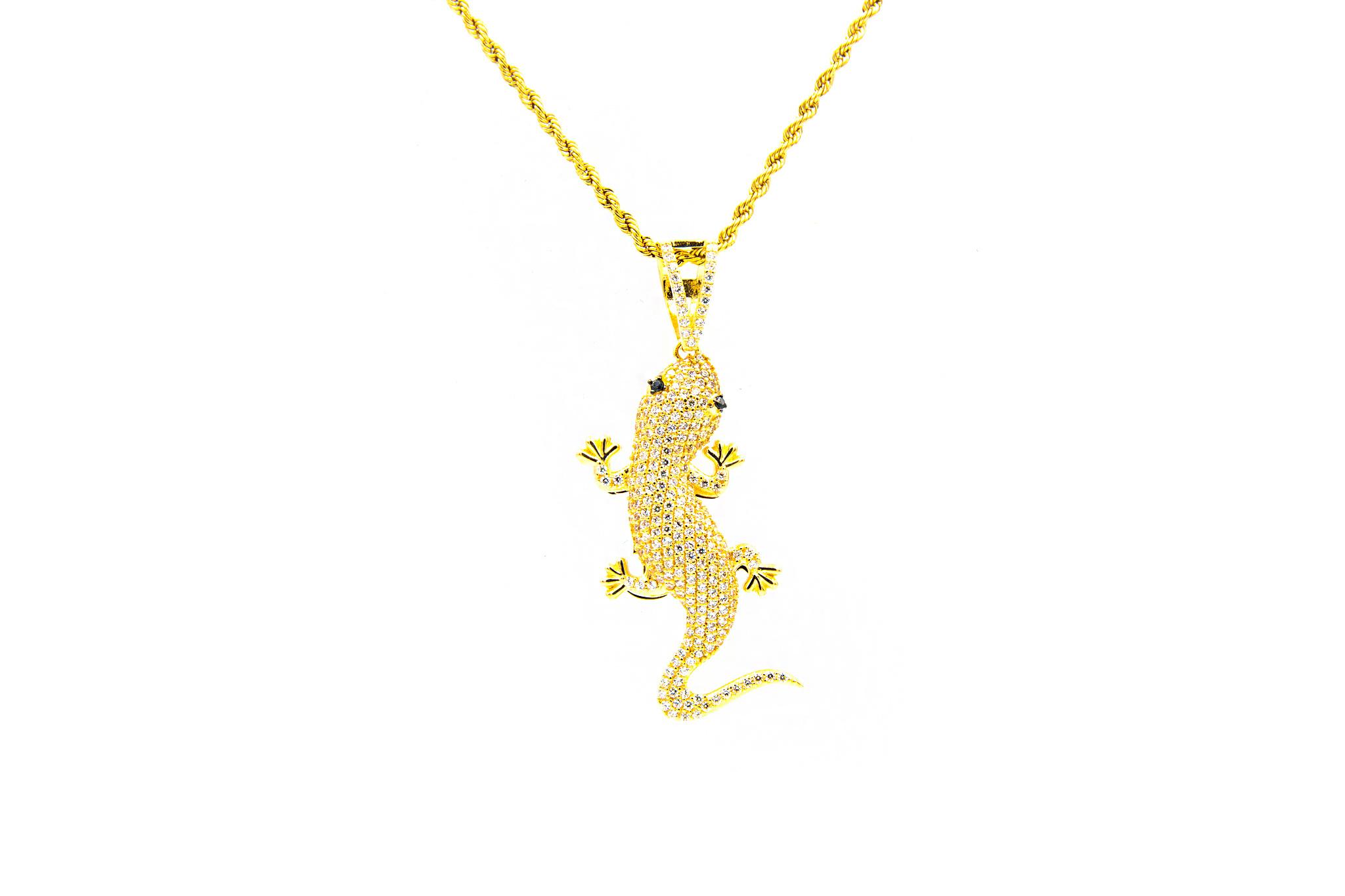 Hanger salamander bezet met 2 kleuren zirkonia's-1