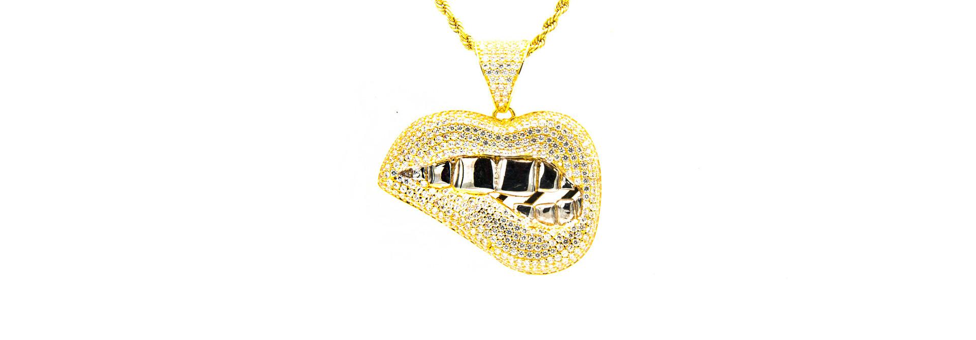 Hanger smile met witgouden tanden  bicolor