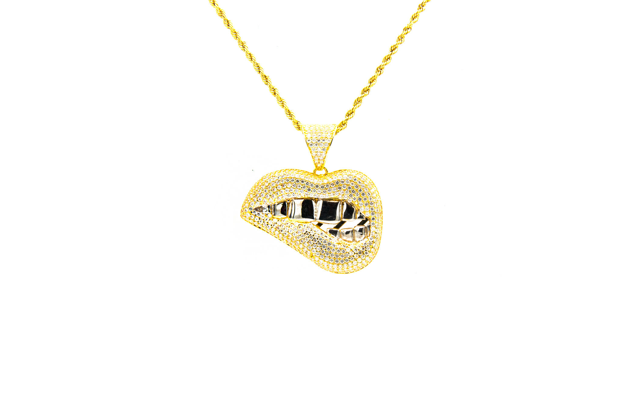 Hanger smile met witgouden tanden  bicolor-1