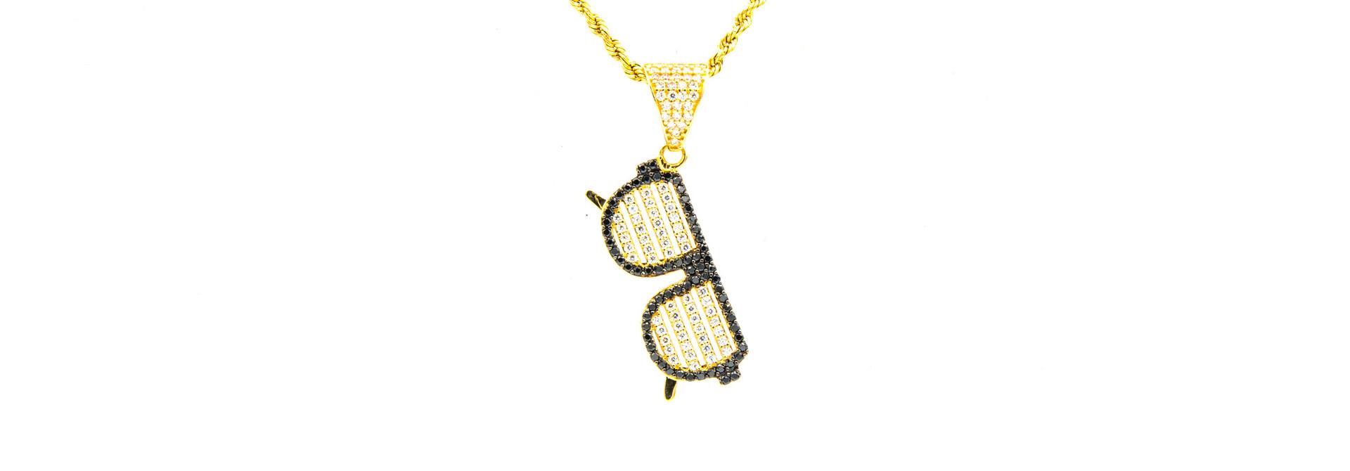Hanger zonnebril met witte glazen met zirkonia