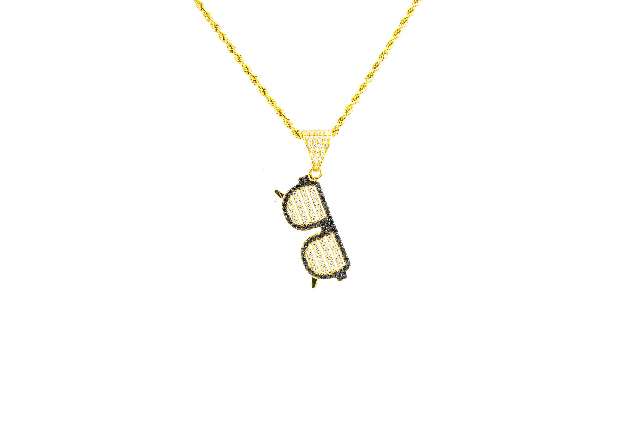 Hanger zonnebril met witte glazen met zirkonia-1