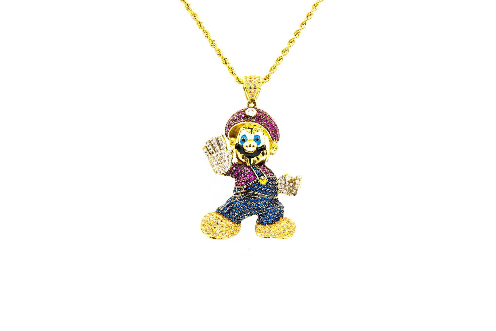 Hanger Mario bezet met 4 kleuren zirkonia's en emaille-1