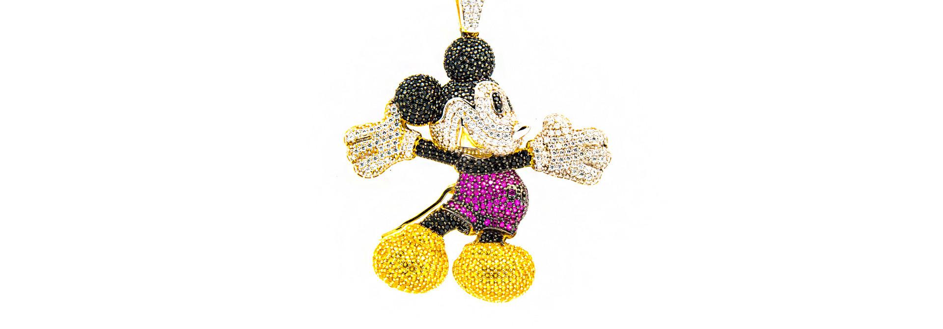 Hanger Mickey mouse bezet met 4 kleuren zirkonia's