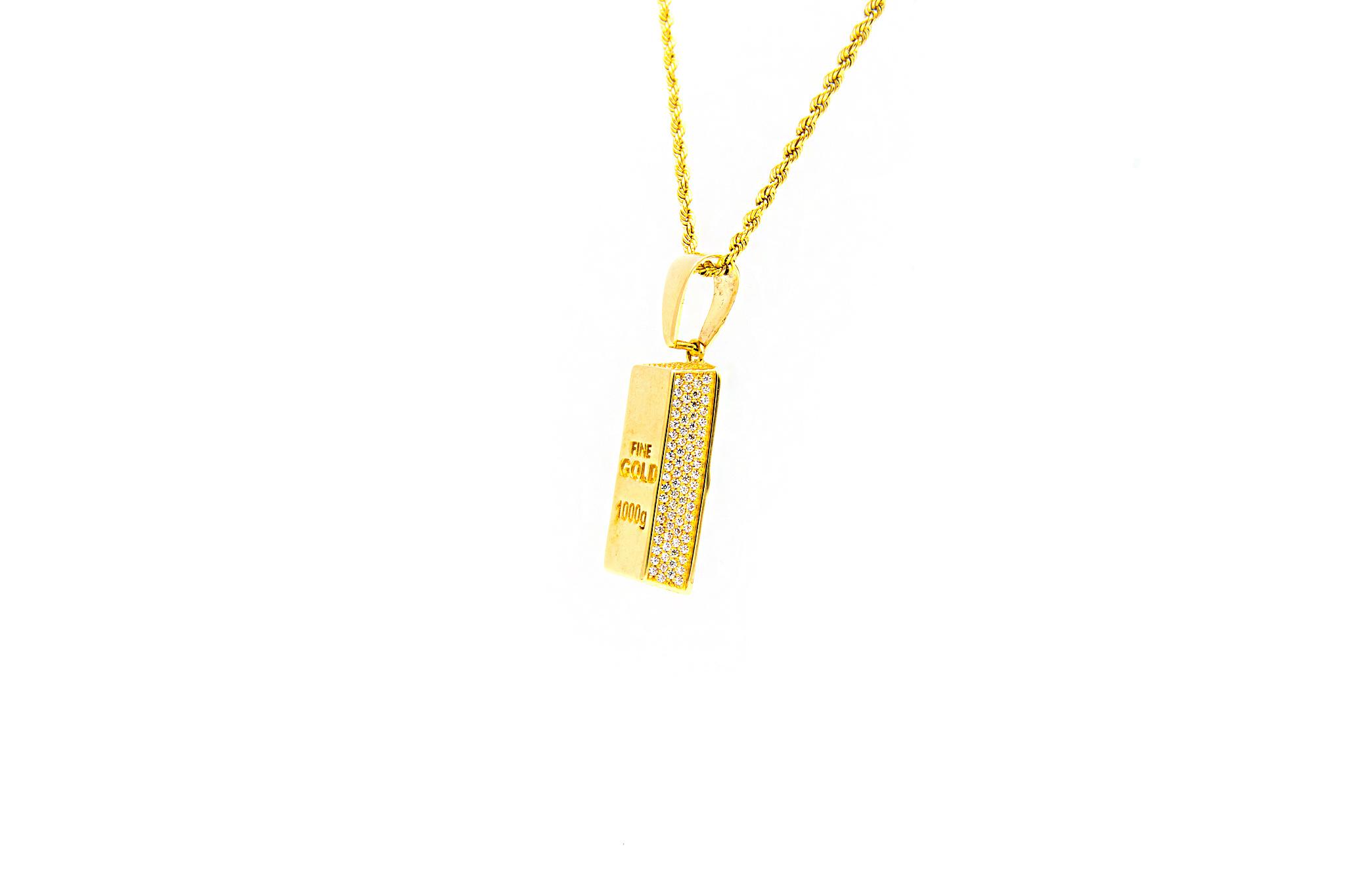 Hanger goudbaar met zirkonia's-3