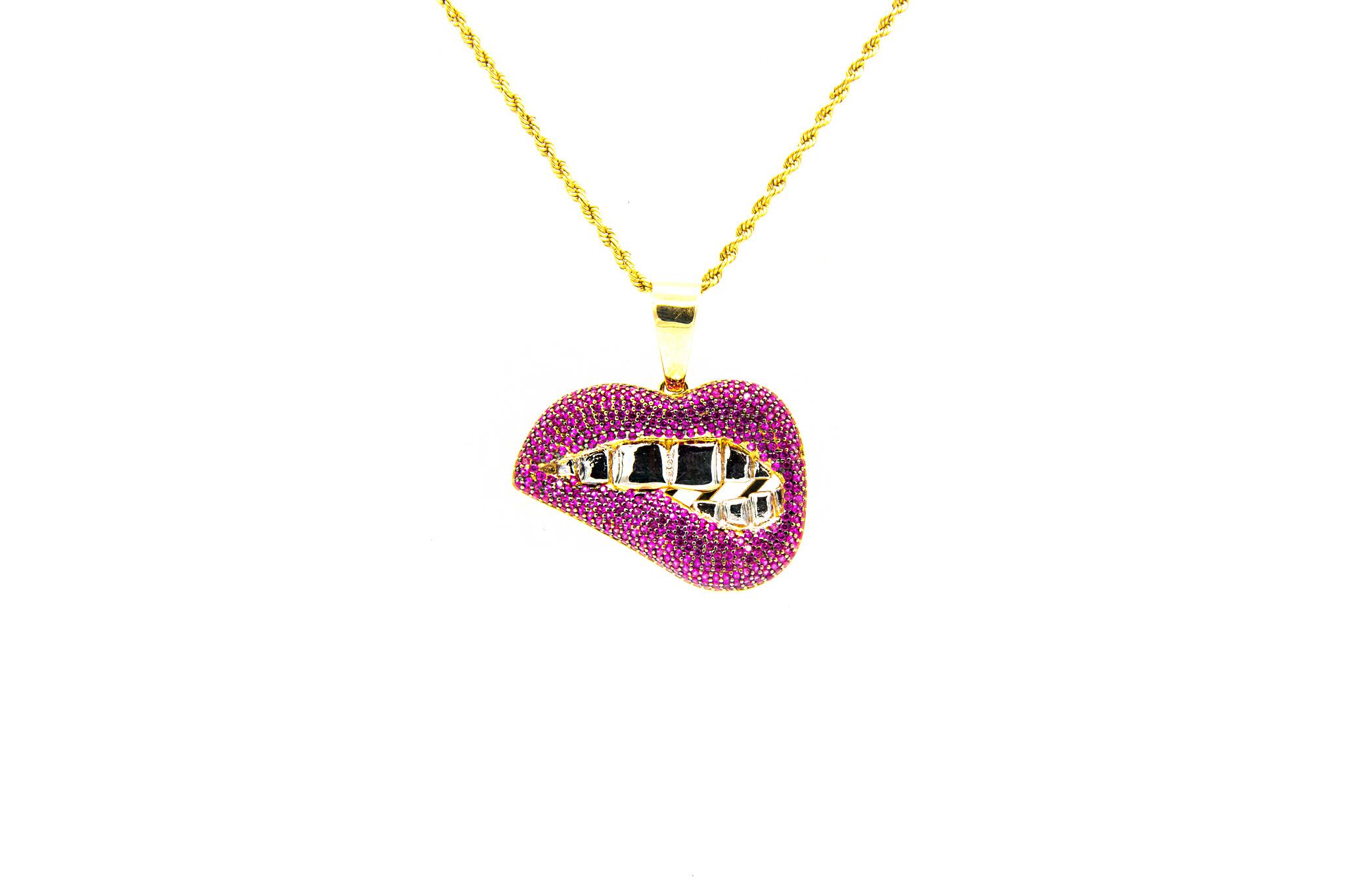 Hanger mond met roze zirkonia's bicolor-1
