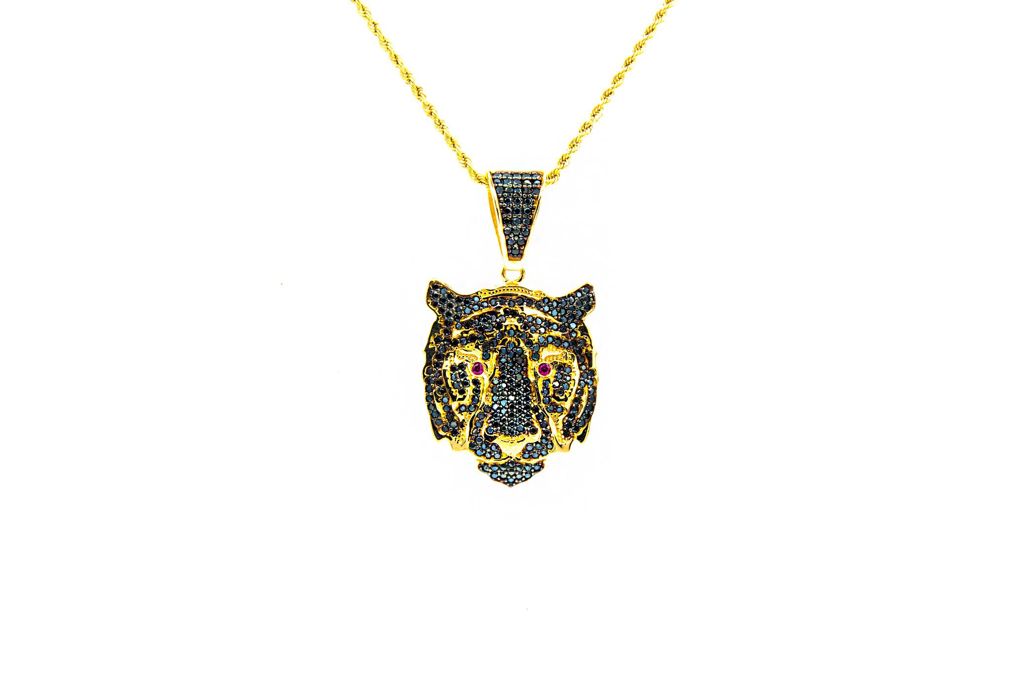 Hanger tijger kop bezet in 2 kleuren zirkonia's-1