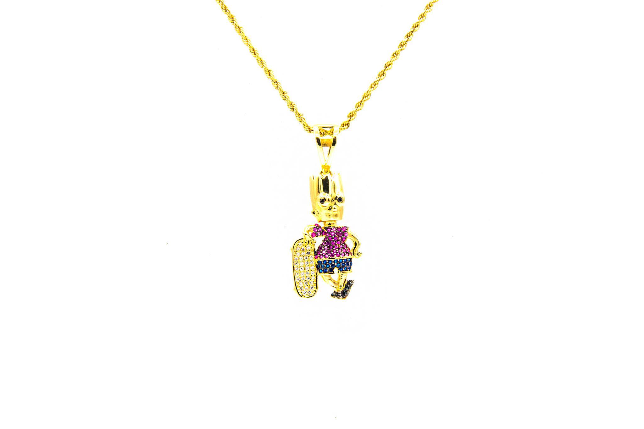 Hanger Bart Simpson bezet met 4 kleuren zirkonia's-1