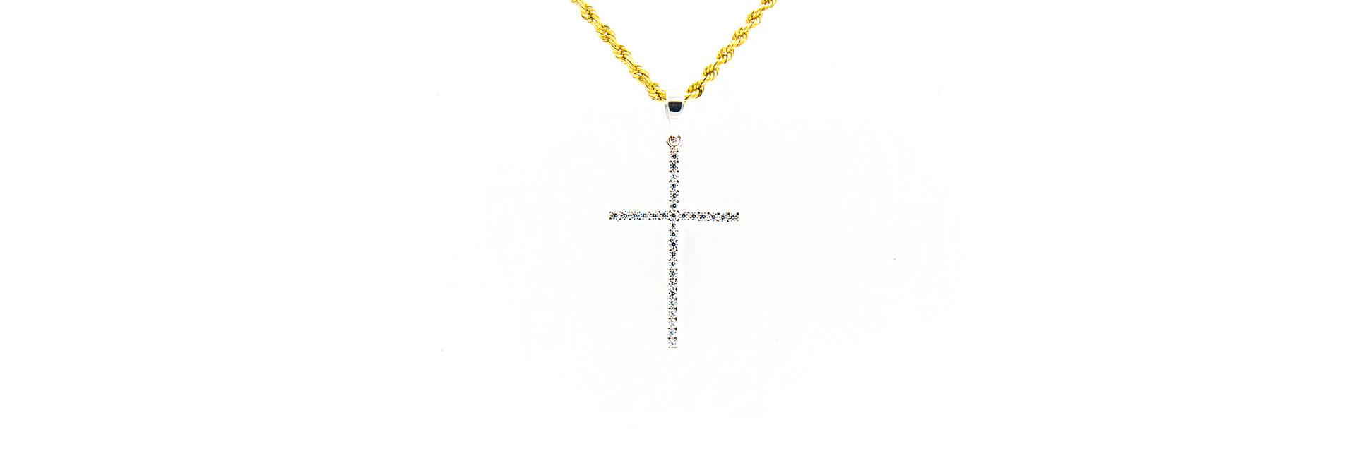 Hanger kruis bezet met zirkonia's witgoud