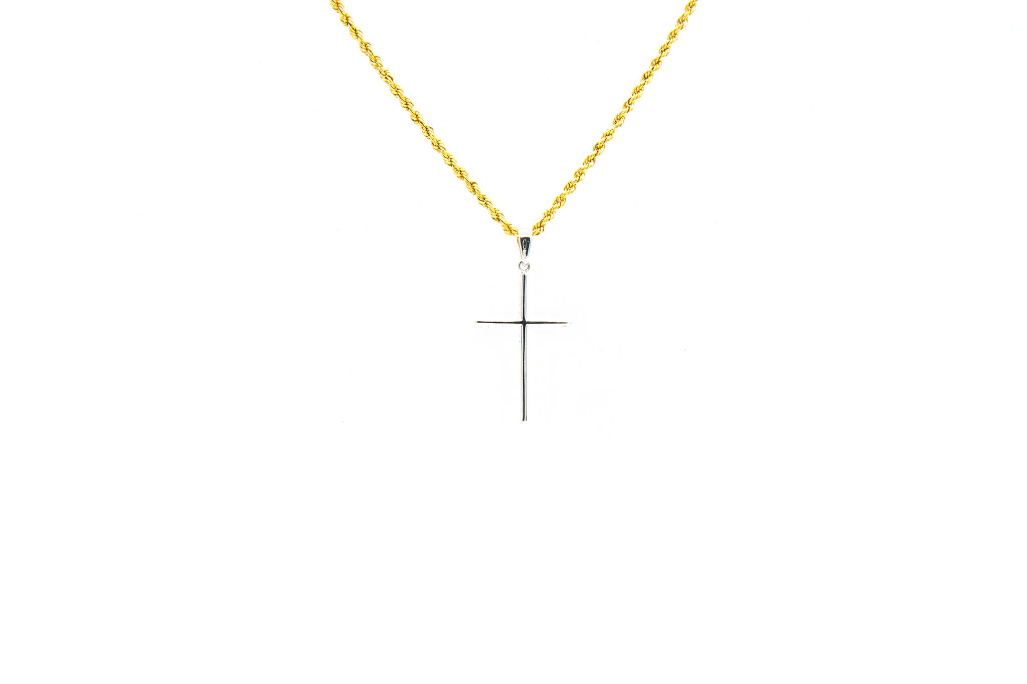 Hanger kruis bezet met zirkonia's witgoud-2