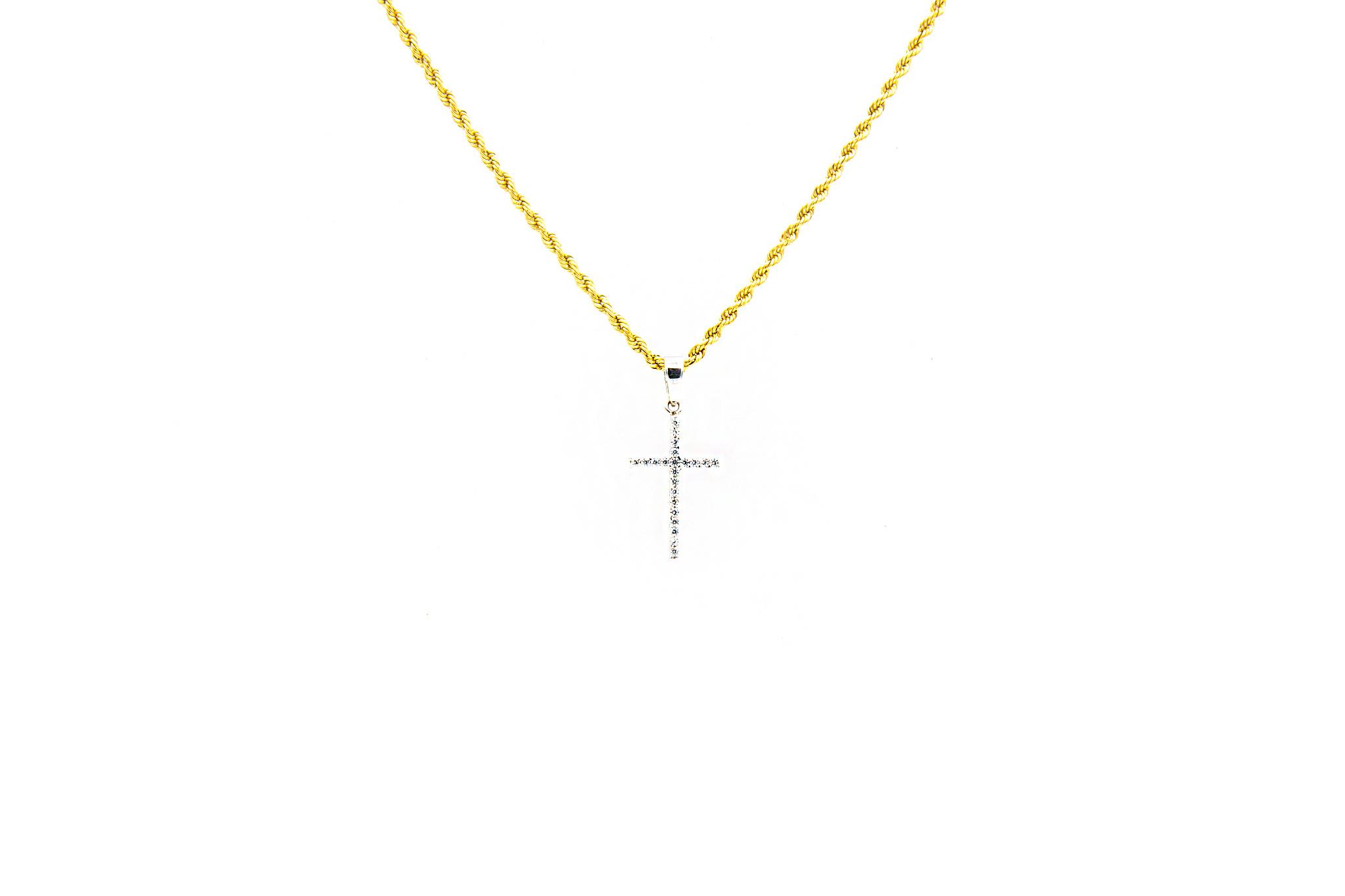 Hanger kruis bezet met 2 kleuren zirkonia's  witgoud-1