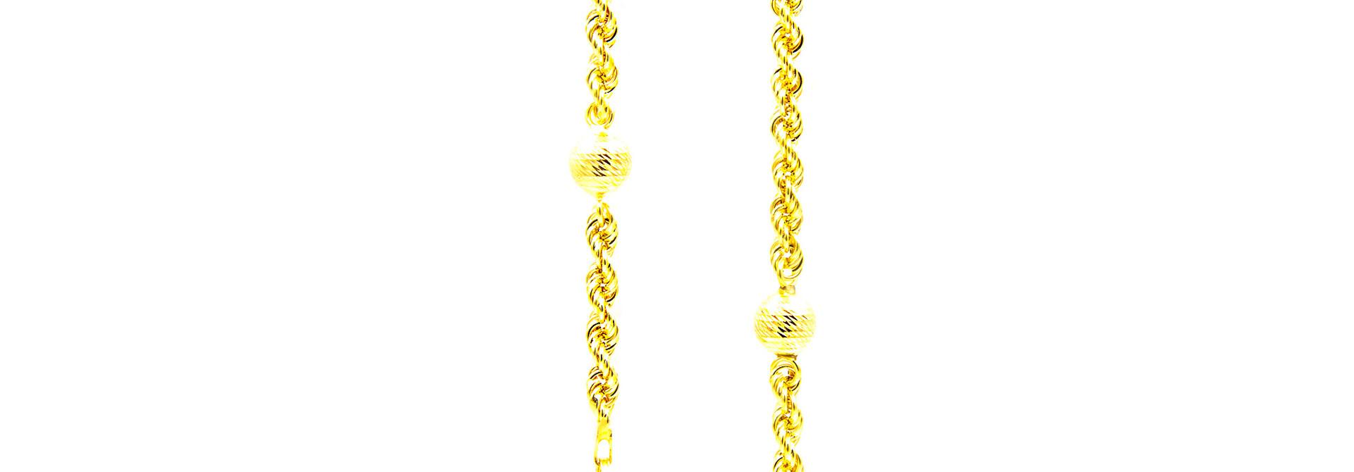 Ketting rope chain met 7 bewerkte bollen