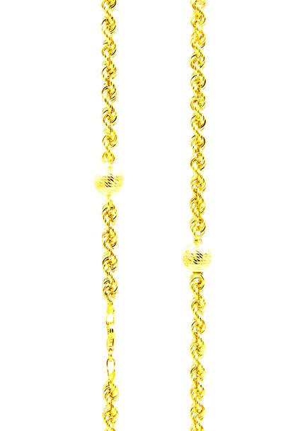 Rope chain Nederlands goud met bolletjes 4mm