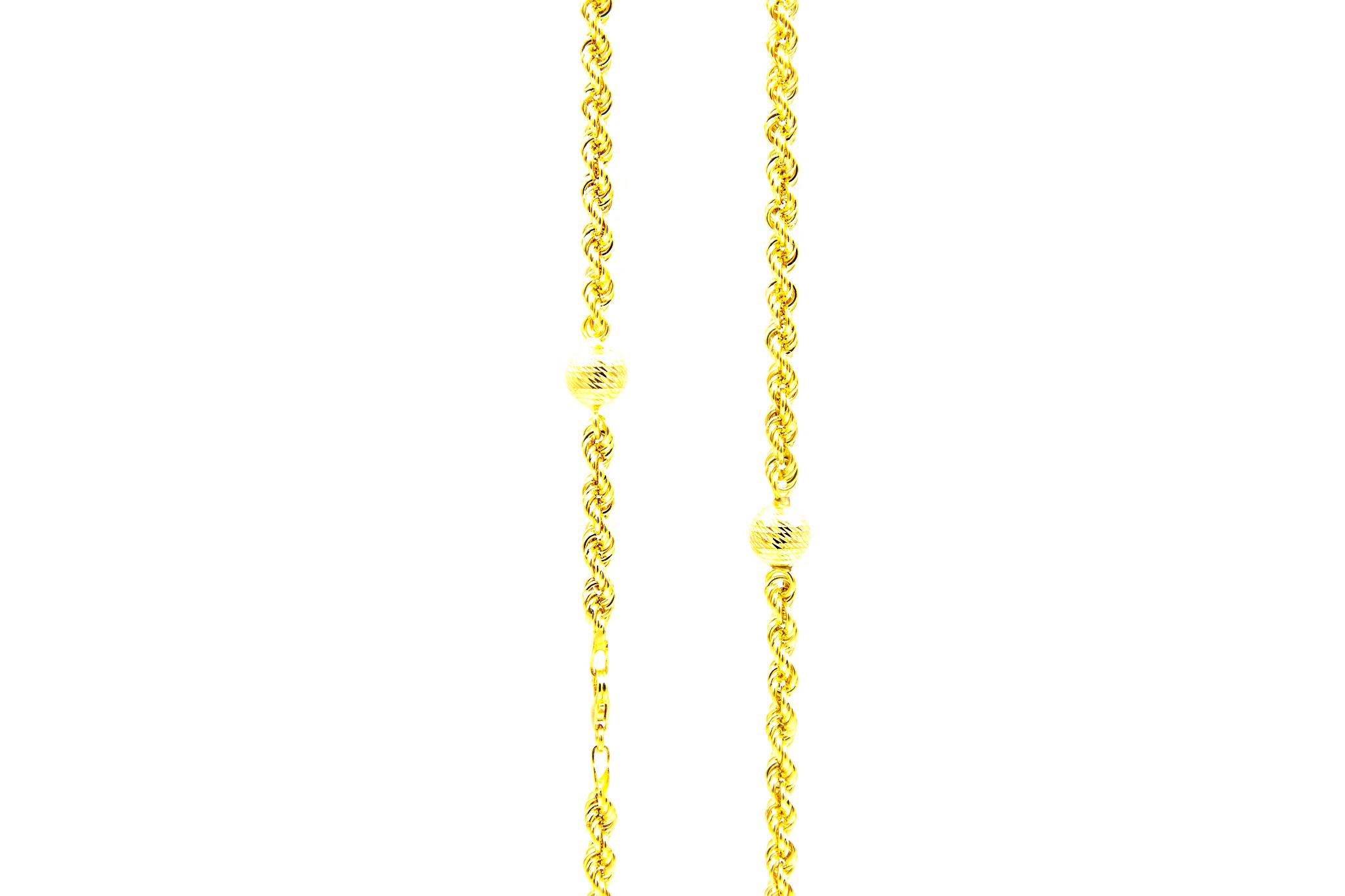 Ketting rope chain met 7 bewerkte bollen-1