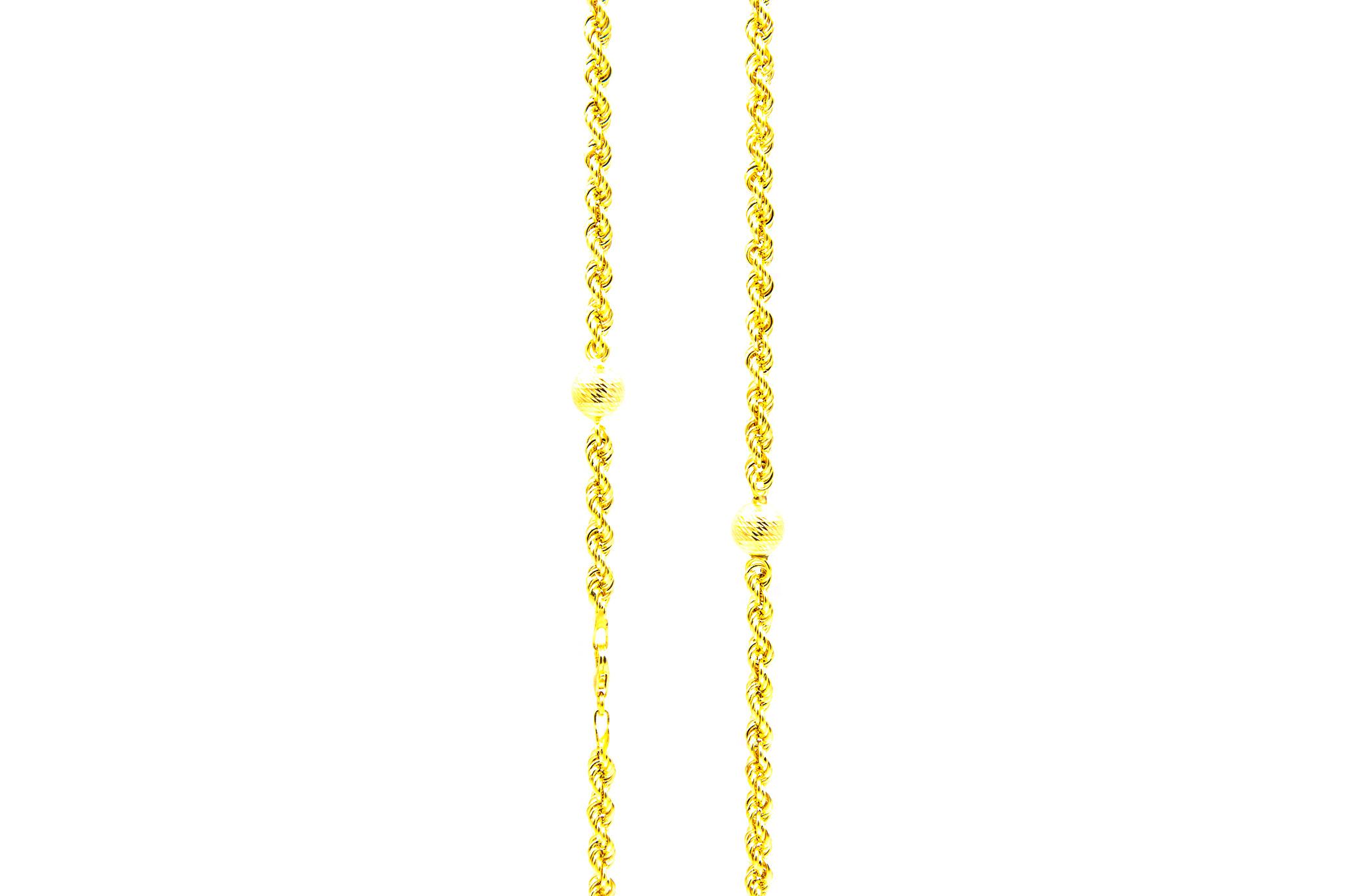 Ketting rope chain met 7 bewerkte bollen-2