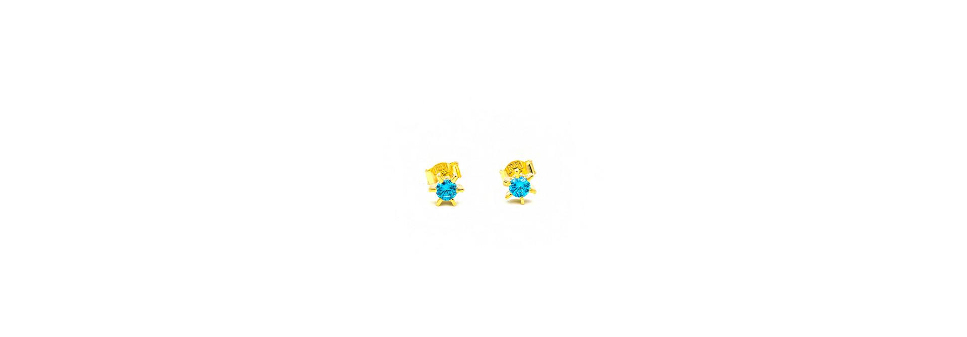 Oorbellen solitair bezet met blauwe zirkonia