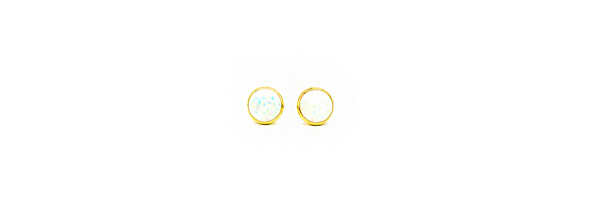 Oorbellen ronde cabochon bezet met opaal large