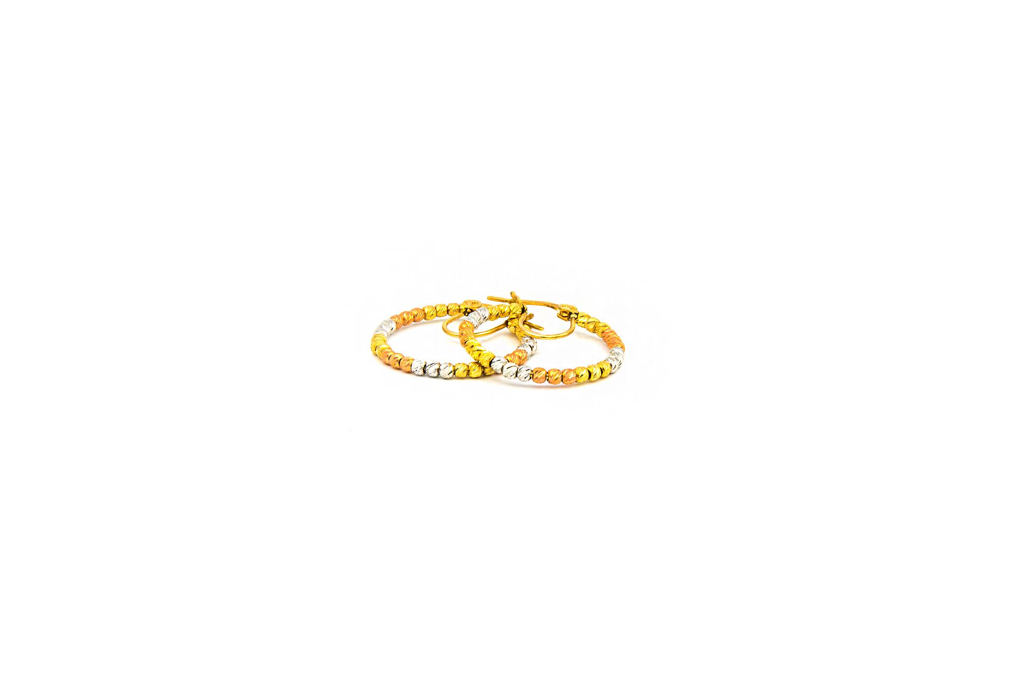 Oorbellen creolen tricolor gediamanteerde creolen large-3