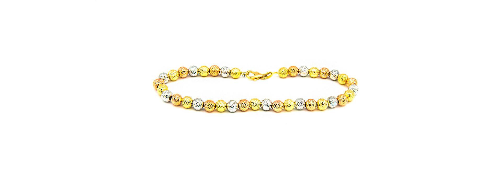 Armband tricolor met gediamanteerde grote bolletjes