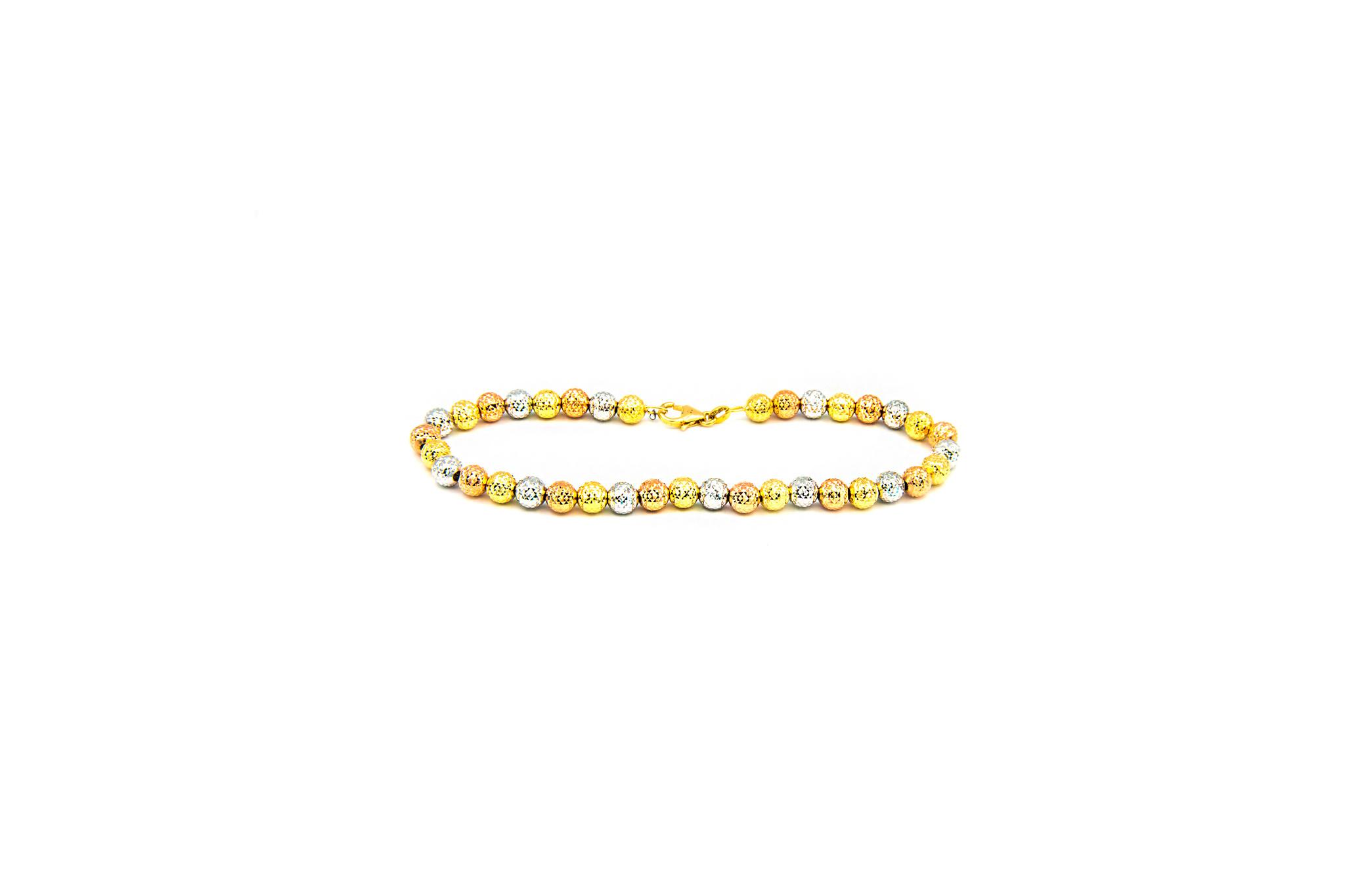Armband tricolor met gediamanteerde grote bolletjes-1