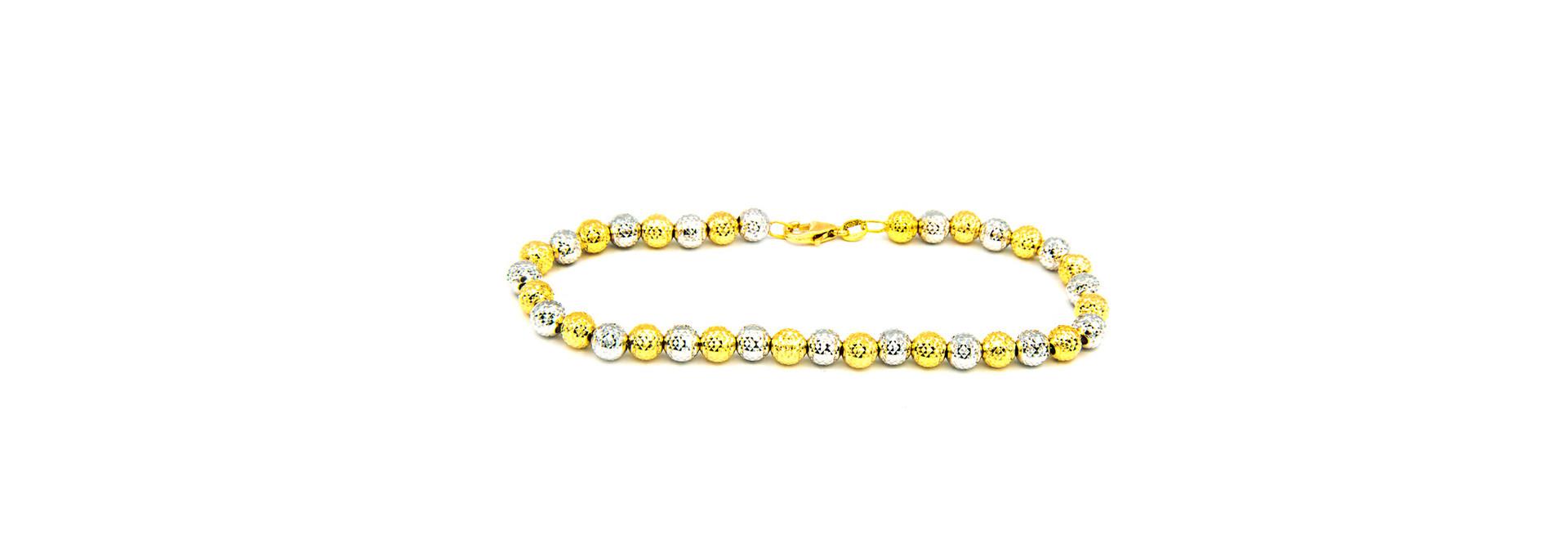 Armband bicolor met gediamanteerde grote bolletjes