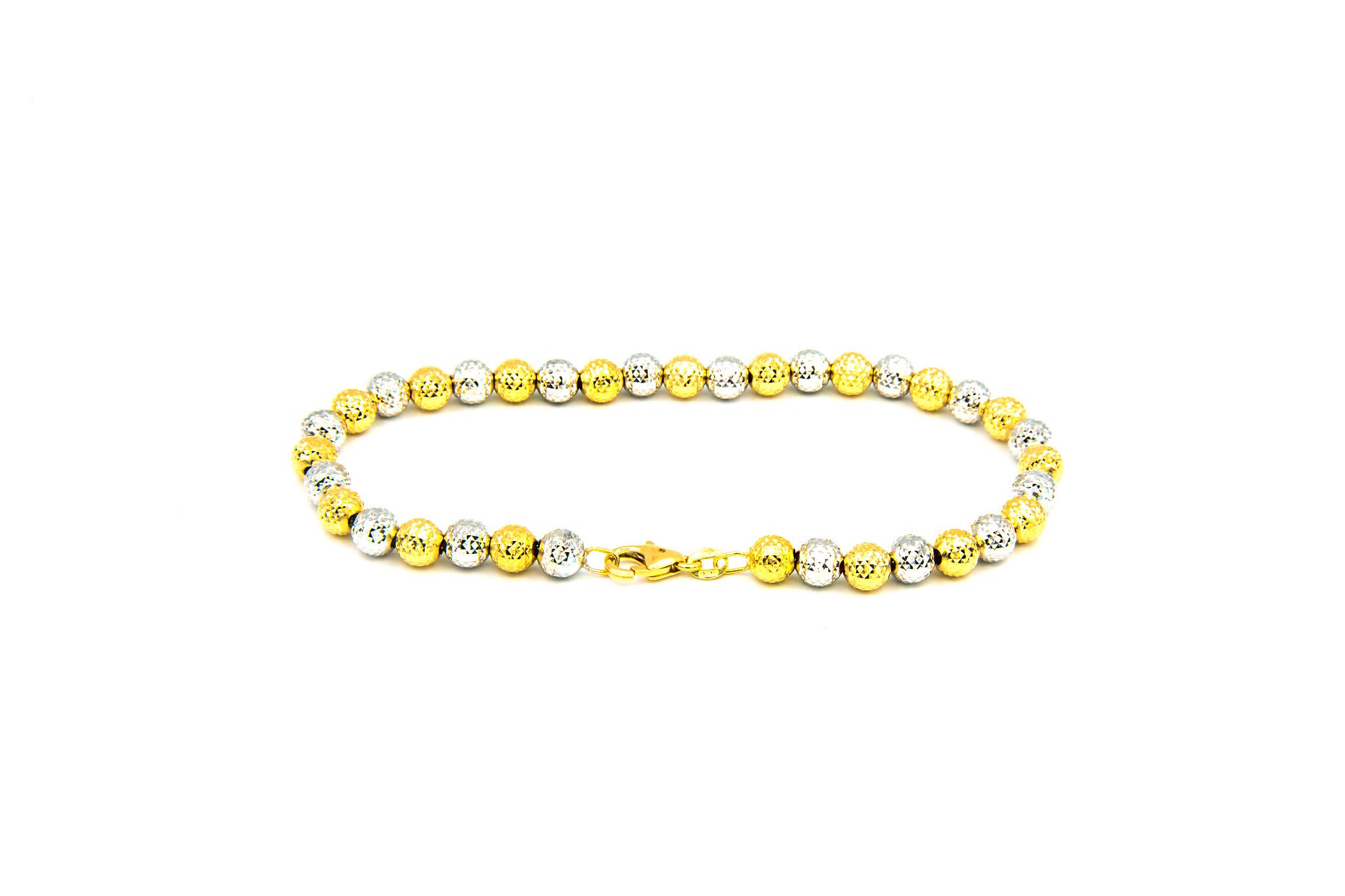Armband bicolor met gediamanteerde grote bolletjes-3