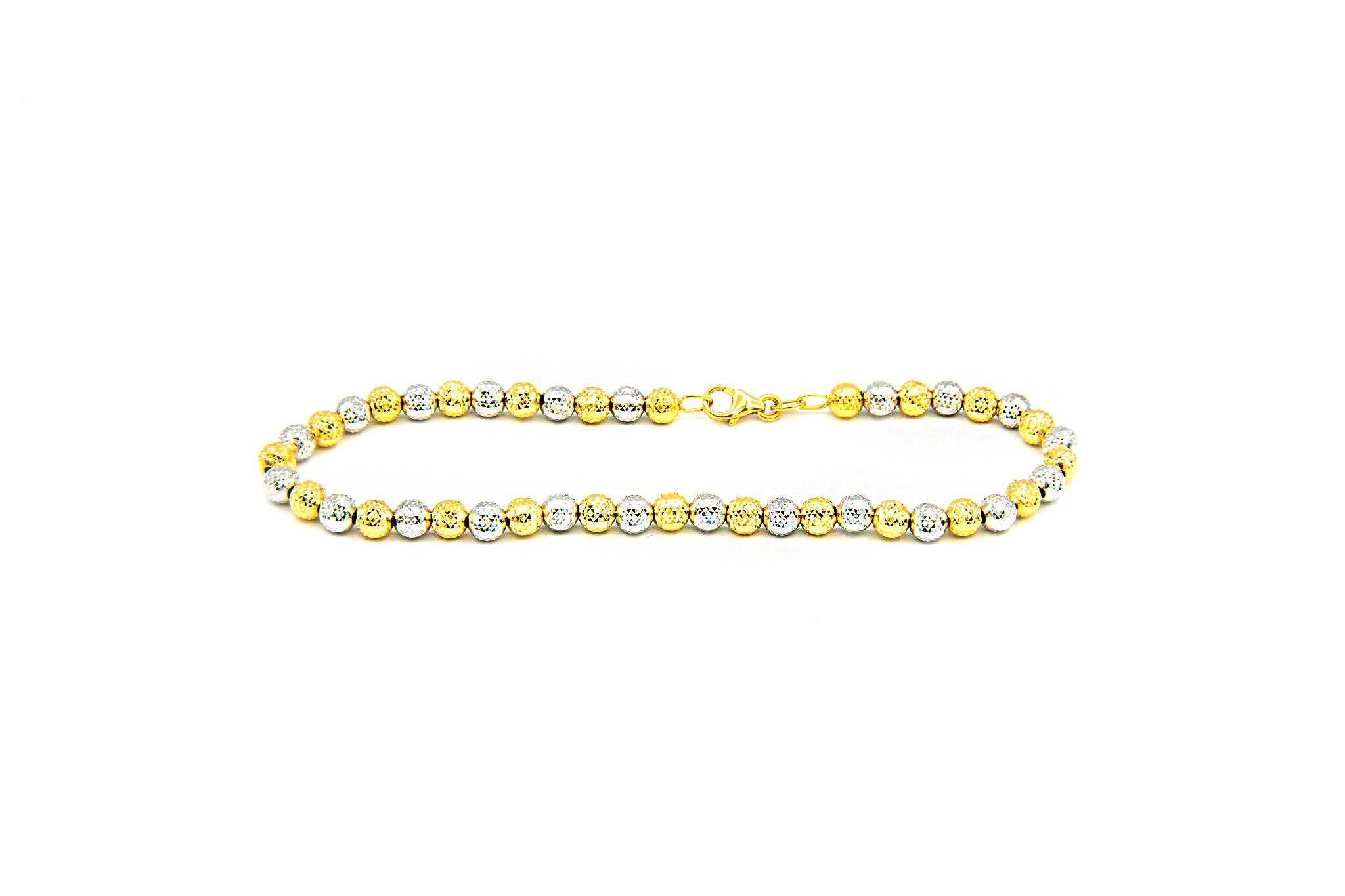 Armband bicolor met gediamanteerde kleine bolletjes-2