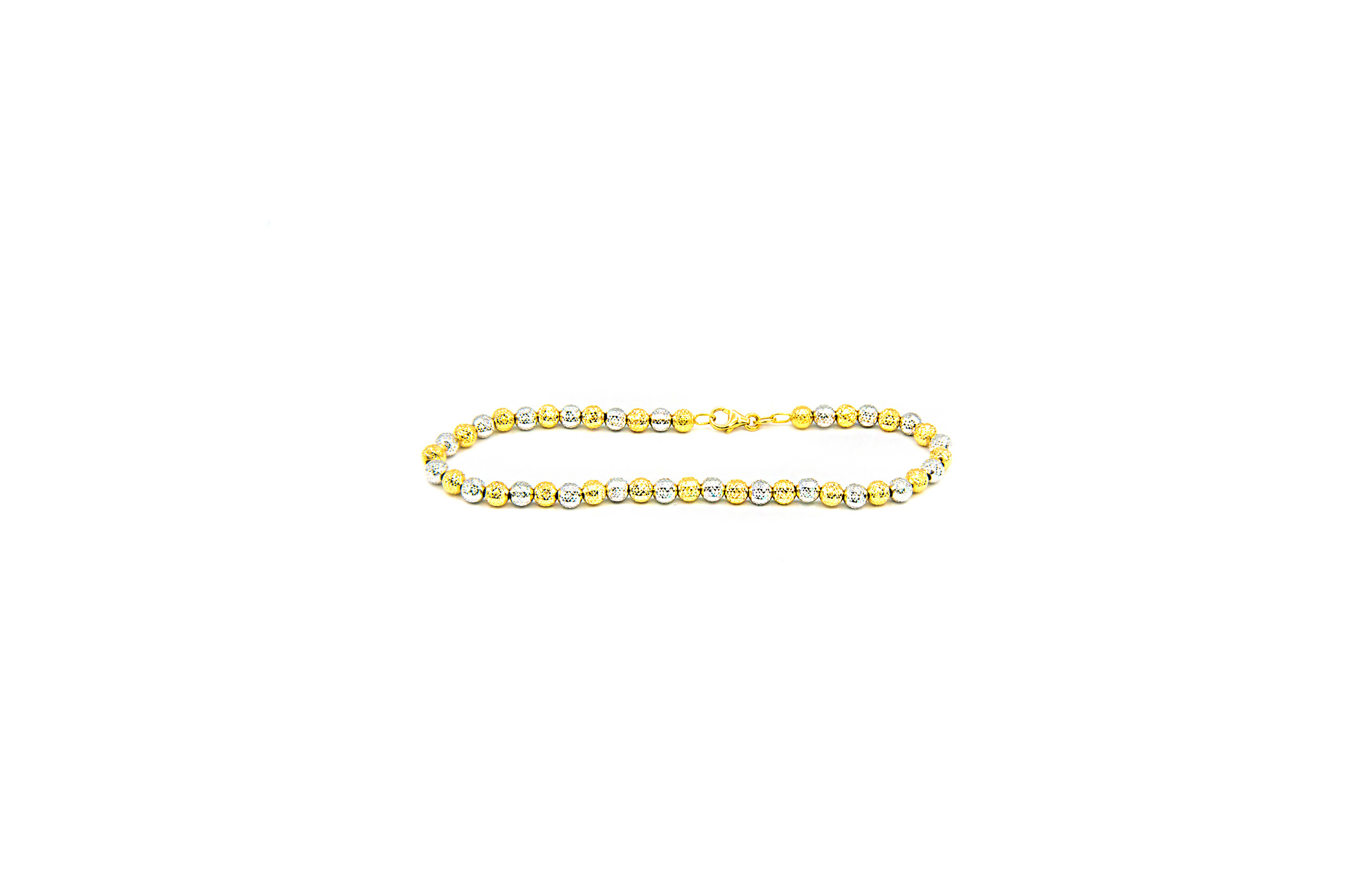 Armband bicolor met gediamanteerde kleine bolletjes-1