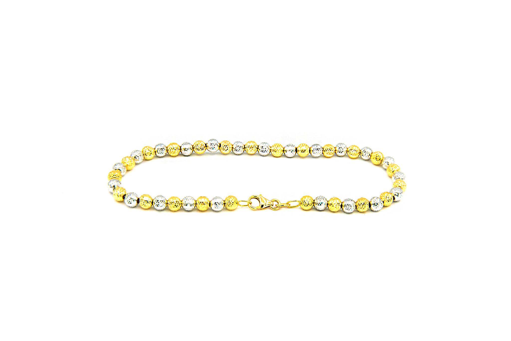 Armband bicolor met gediamanteerde kleine bolletjes-3
