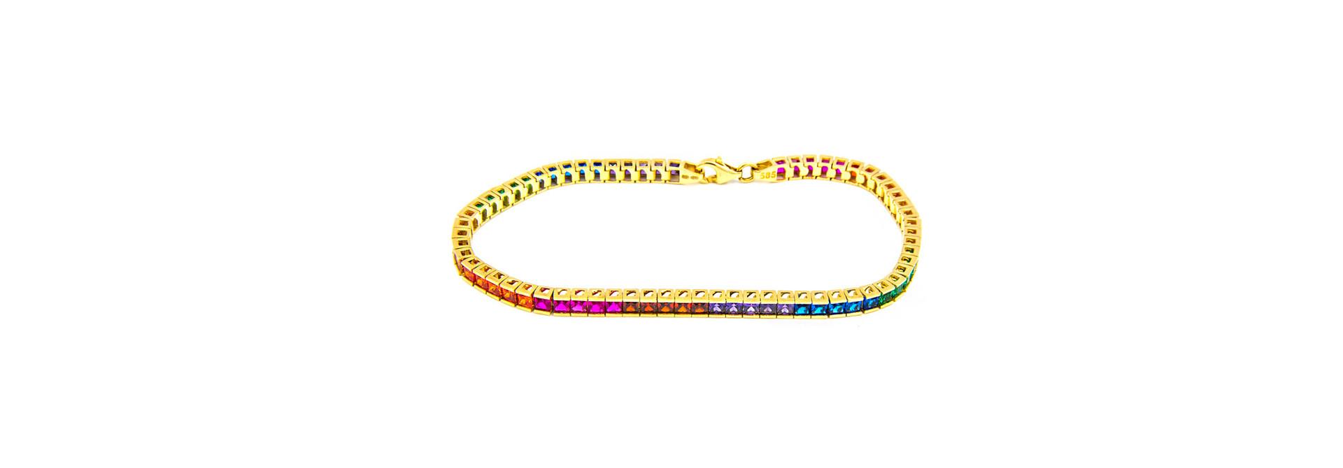 Armband tennis bezet met rainbow zirkonia's