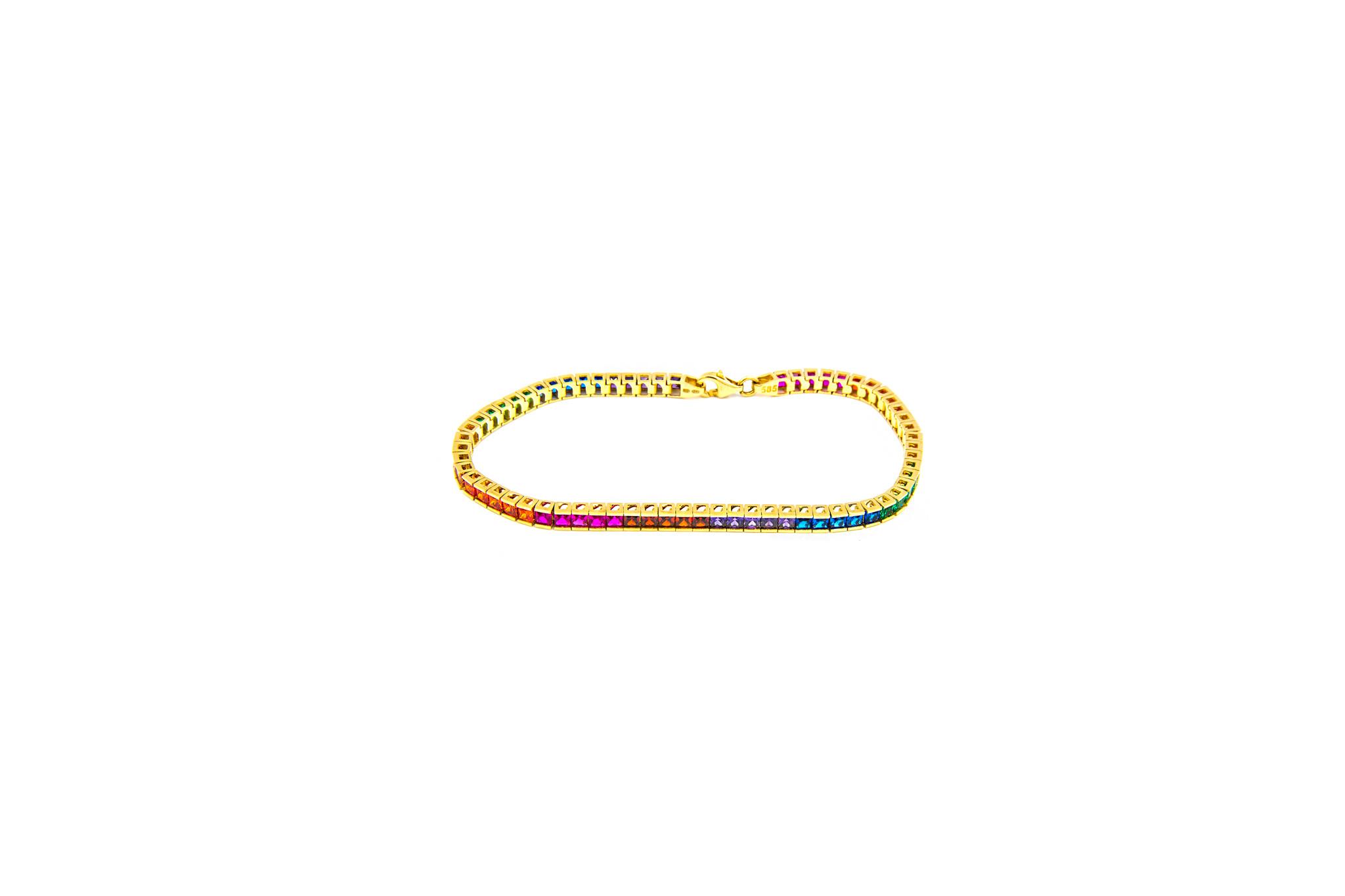 Armband tennis bezet met rainbow zirkonia's-1