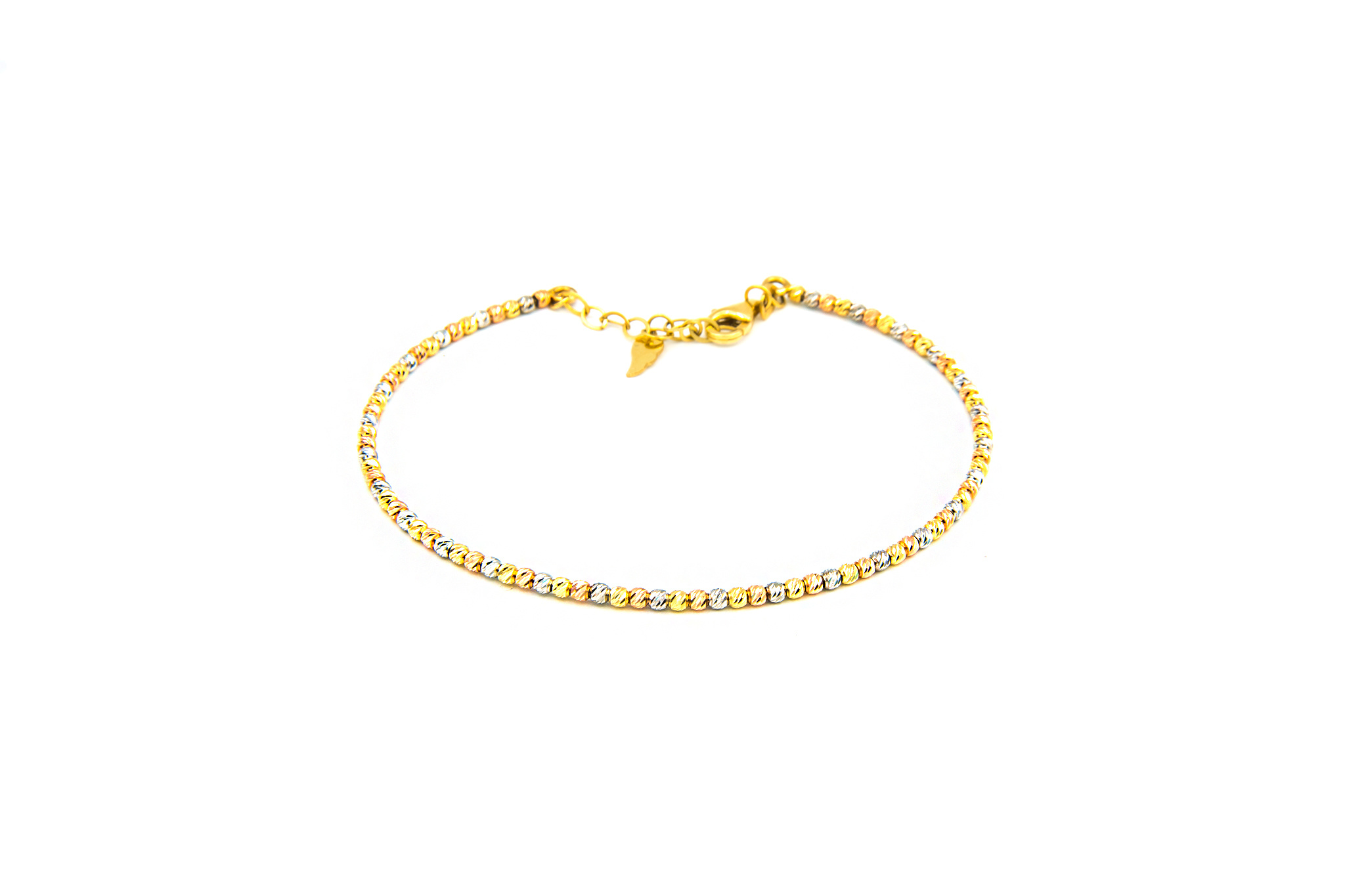 Armband vast diamond cut balletjes tricolor-2